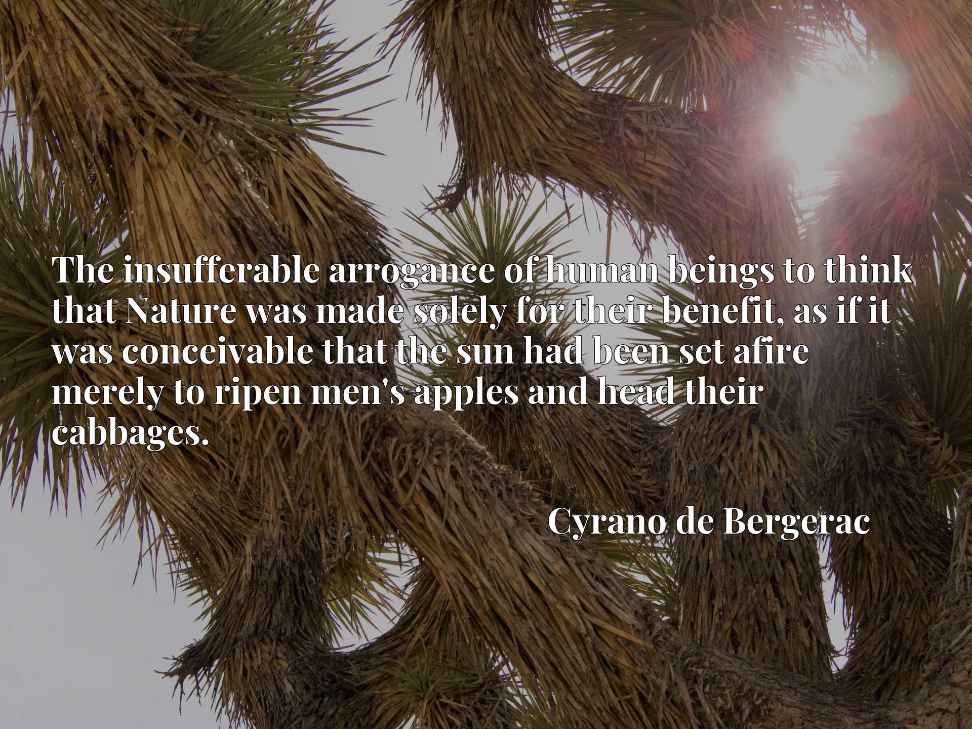 Quote Picture :The insufferable arrogance of human beings to think that Nature was made solely for their benefit, as if it was conceivable that the sun had been set afire merely to ripen men's apples and head their cabbages.