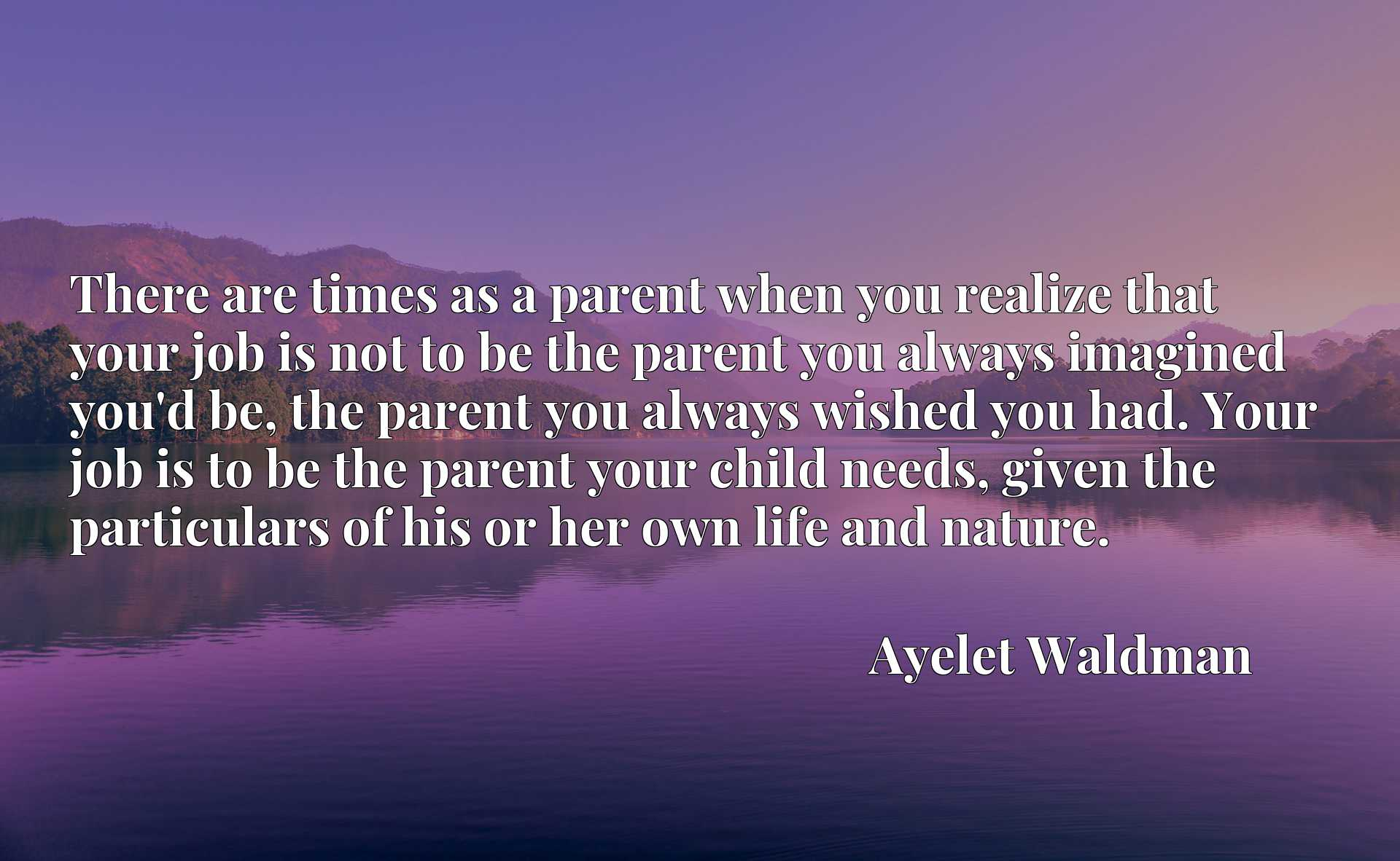 There are times as a parent when you realize that your job is not to be the parent you always imagined you'd be, the parent you always wished you had. Your job is to be the parent your child needs, given the particulars of his or her own life and nature.