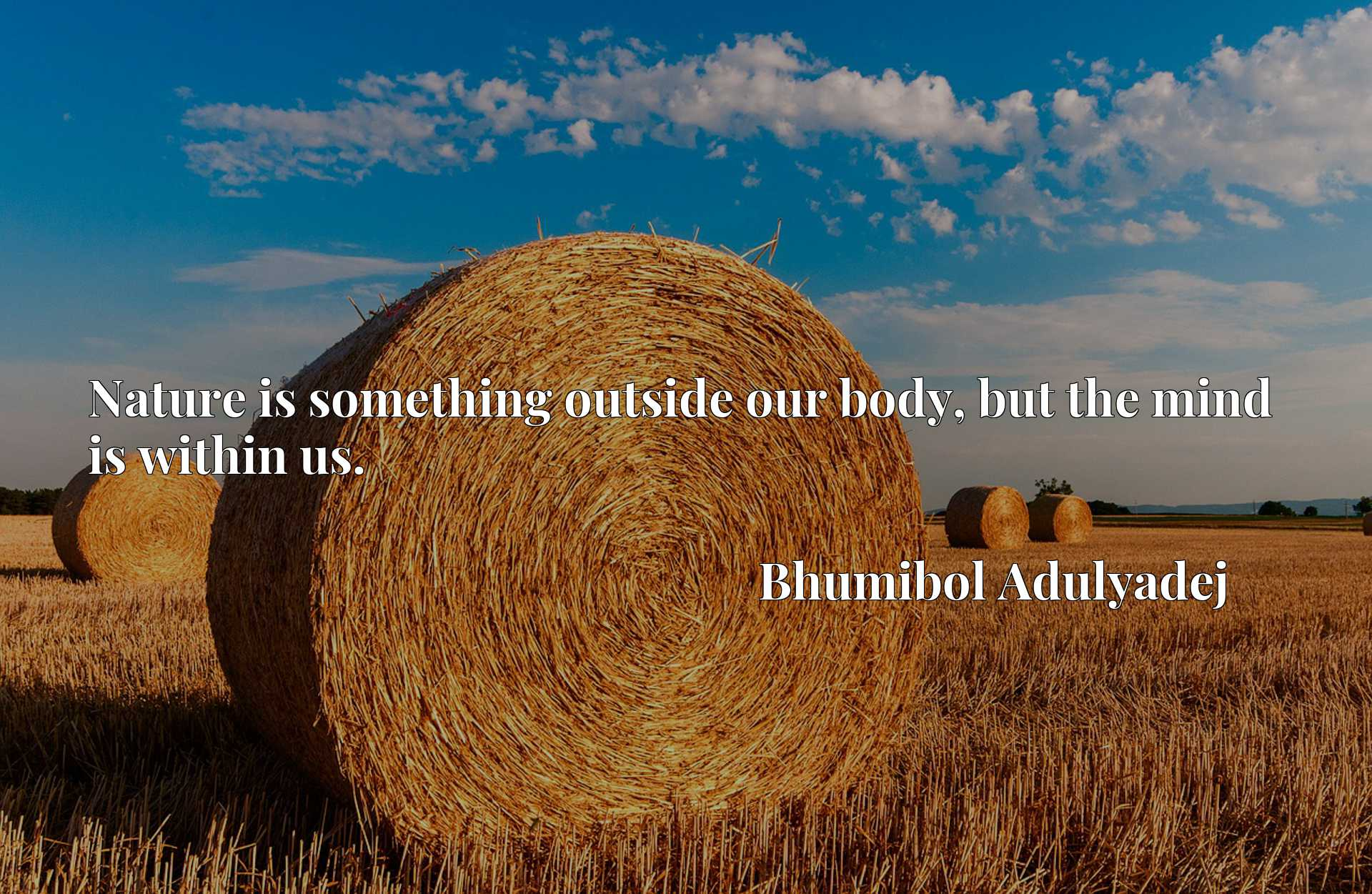 Quote Picture :Nature is something outside our body, but the mind is within us.