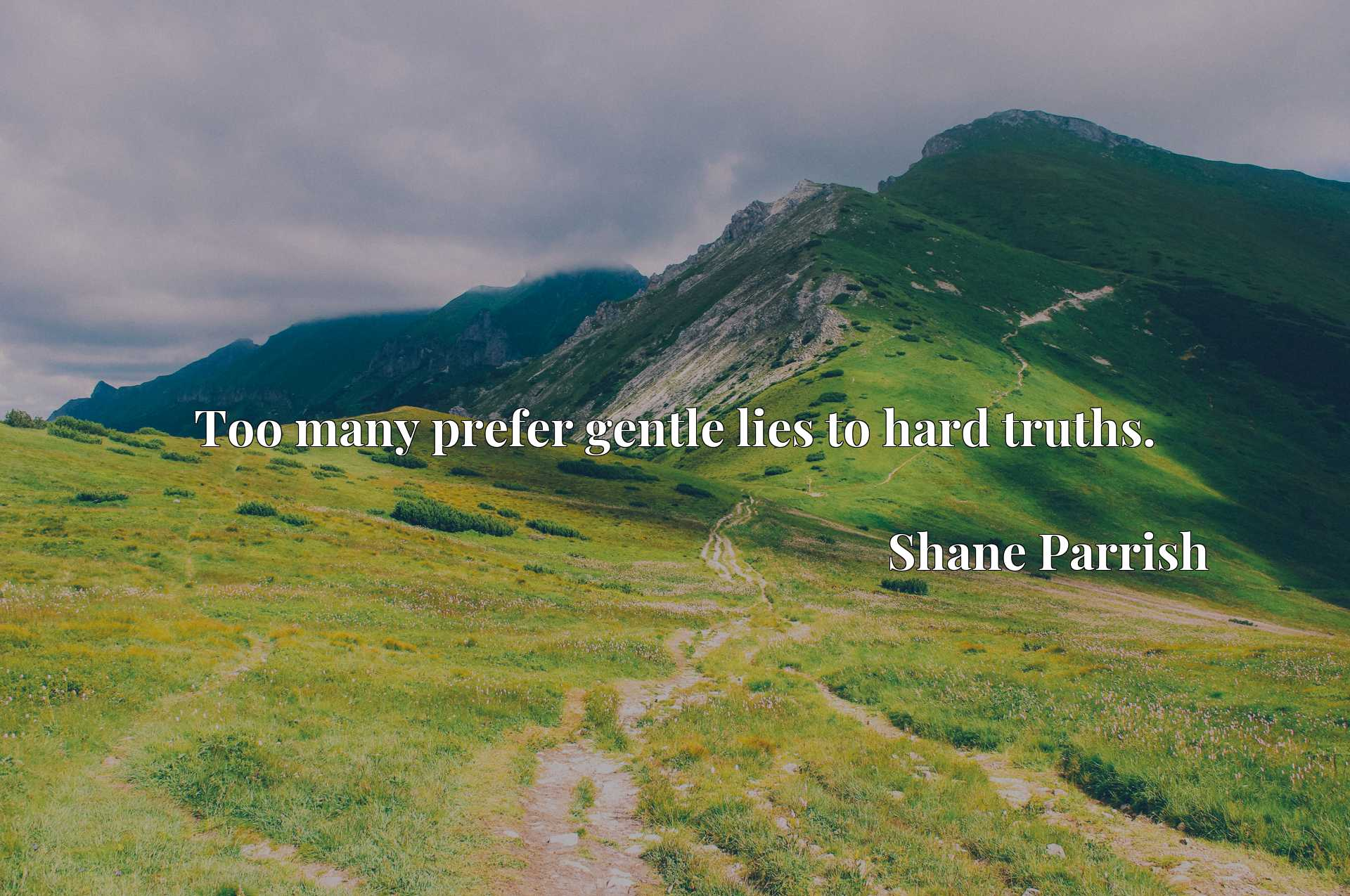 Quote Picture :Too many prefer gentle lies to hard truths.