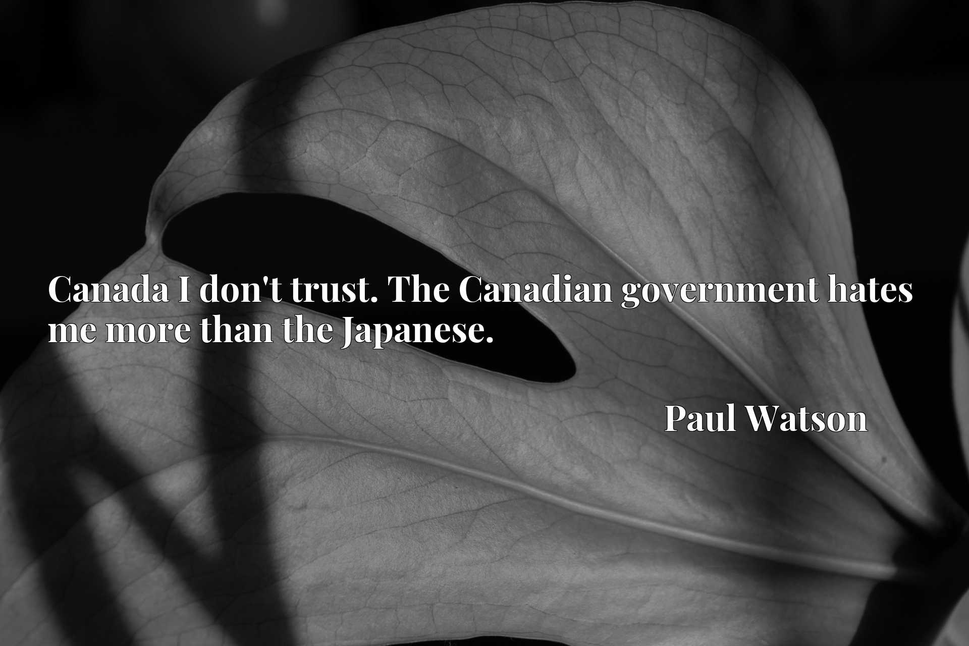 Quote Picture :Canada I don't trust. The Canadian government hates me more than the Japanese.