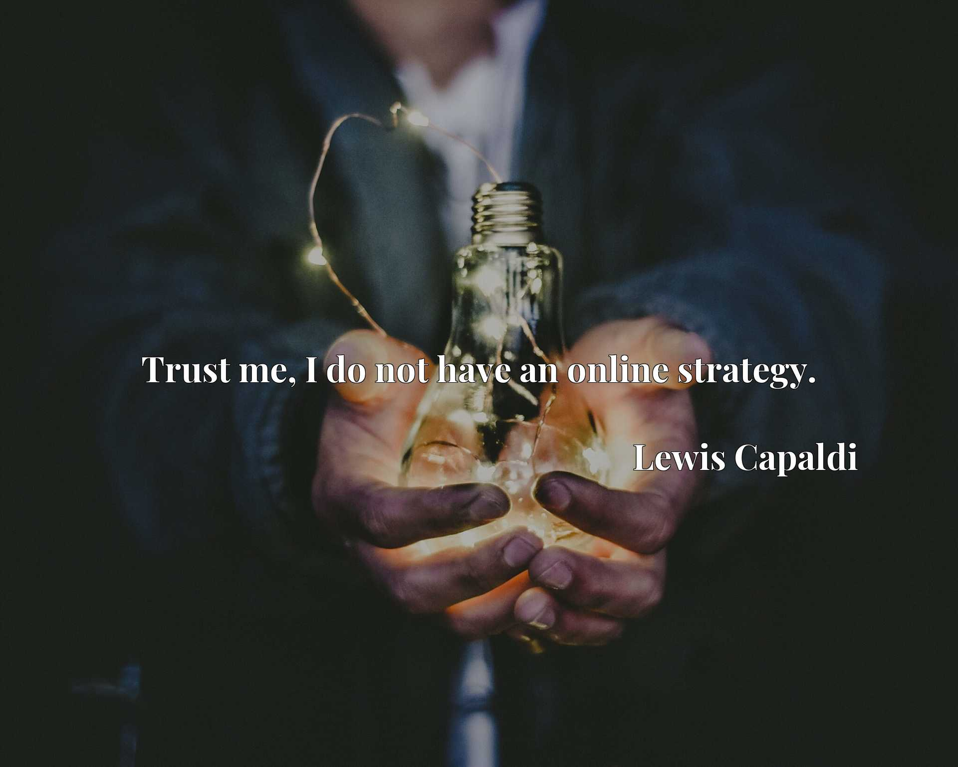 Quote Picture :Trust me, I do not have an online strategy.
