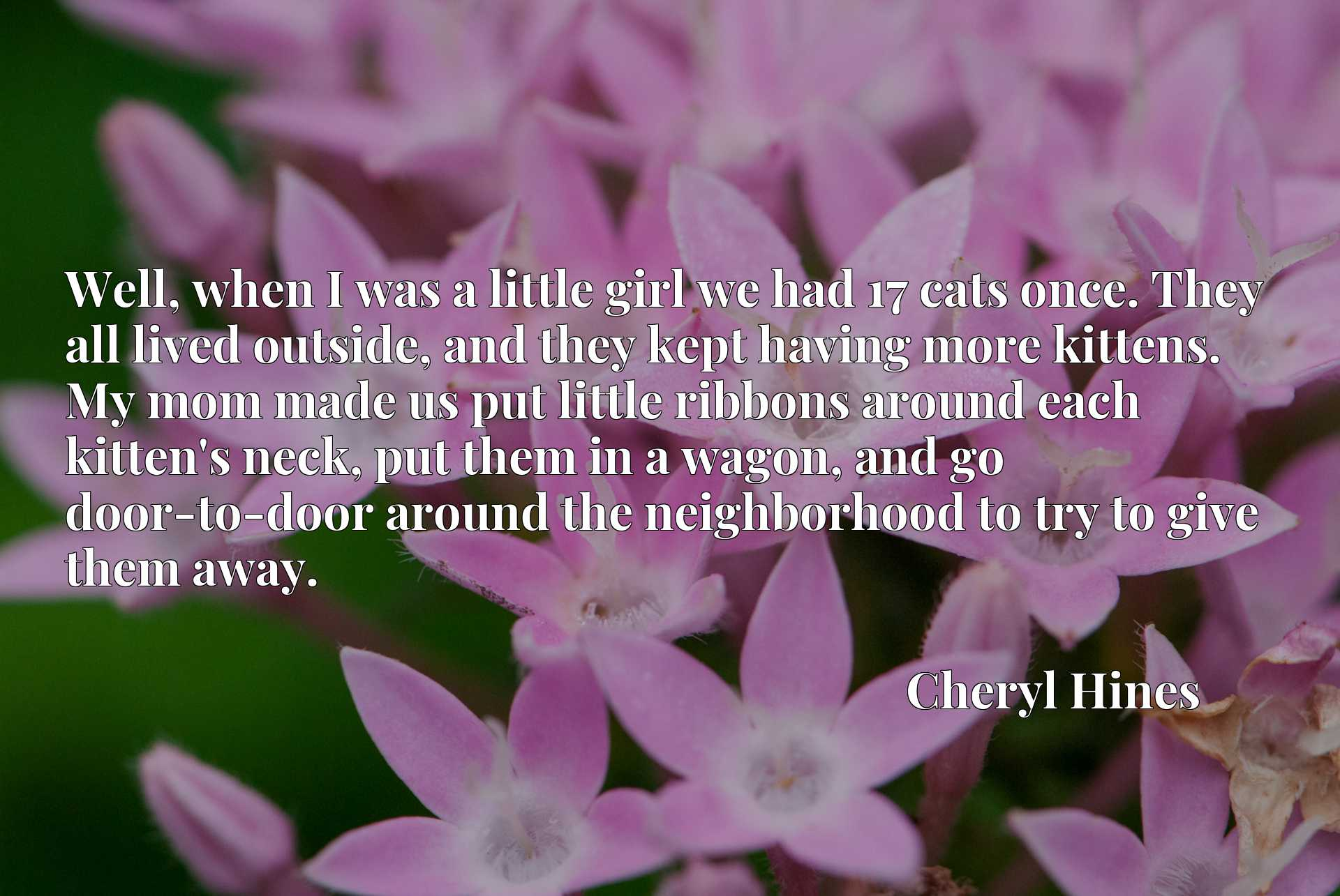 Well, when I was a little girl we had 17 cats once. They all lived outside, and they kept having more kittens. My mom made us put little ribbons around each kitten's neck, put them in a wagon, and go door-to-door around the neighborhood to try to give them away.