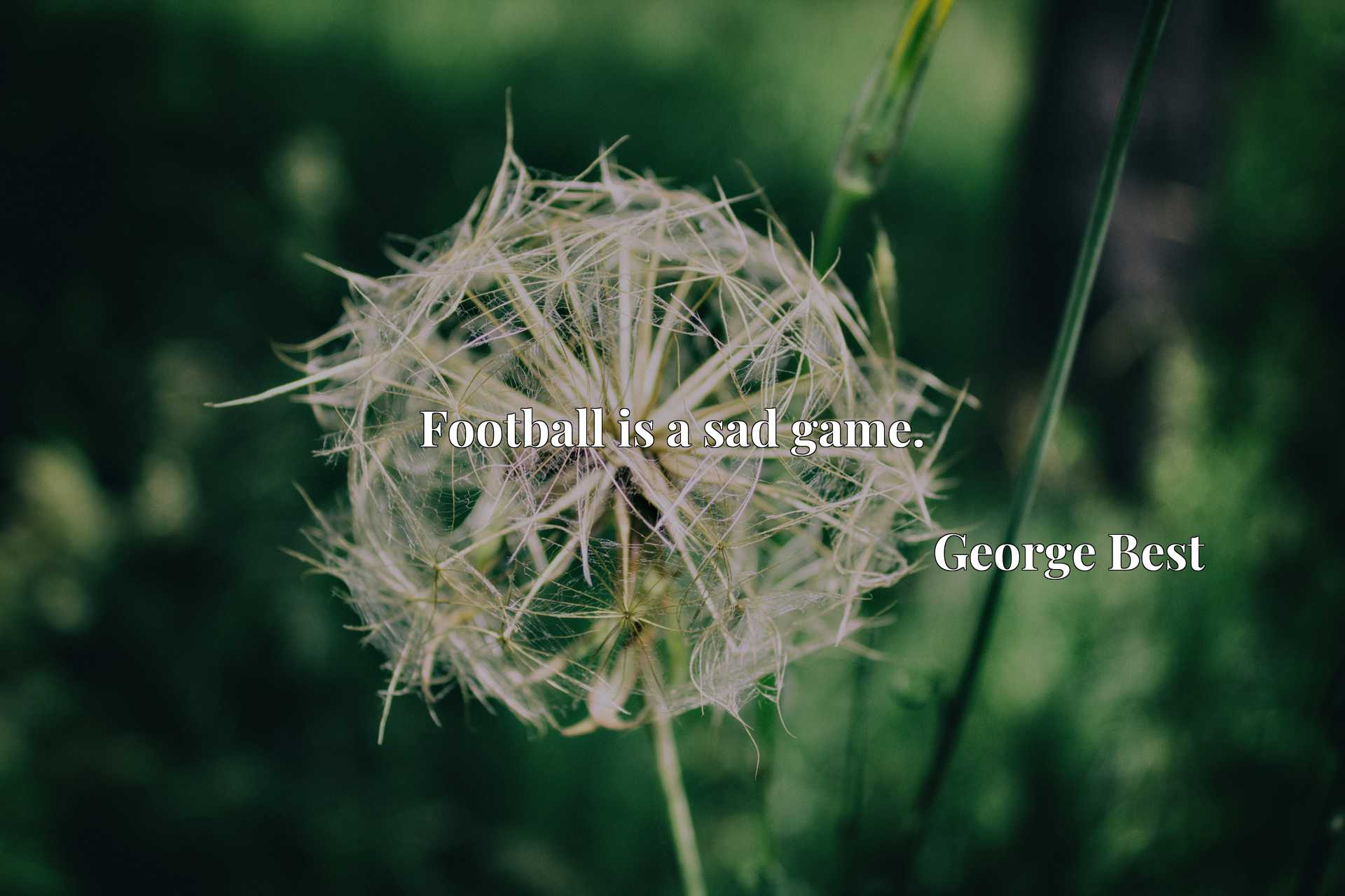 Quote Picture :Football is a sad game.