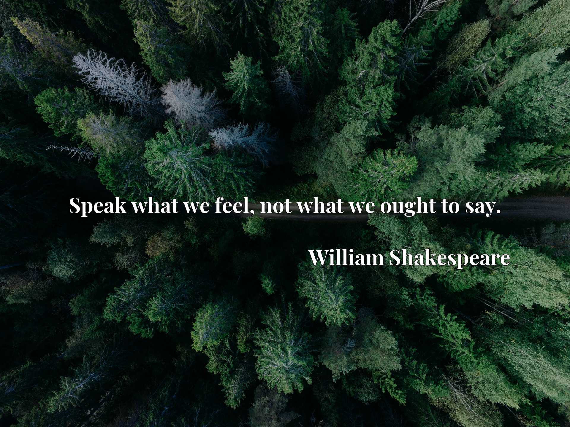 Quote Picture :Speak what we feel, not what we ought to say.