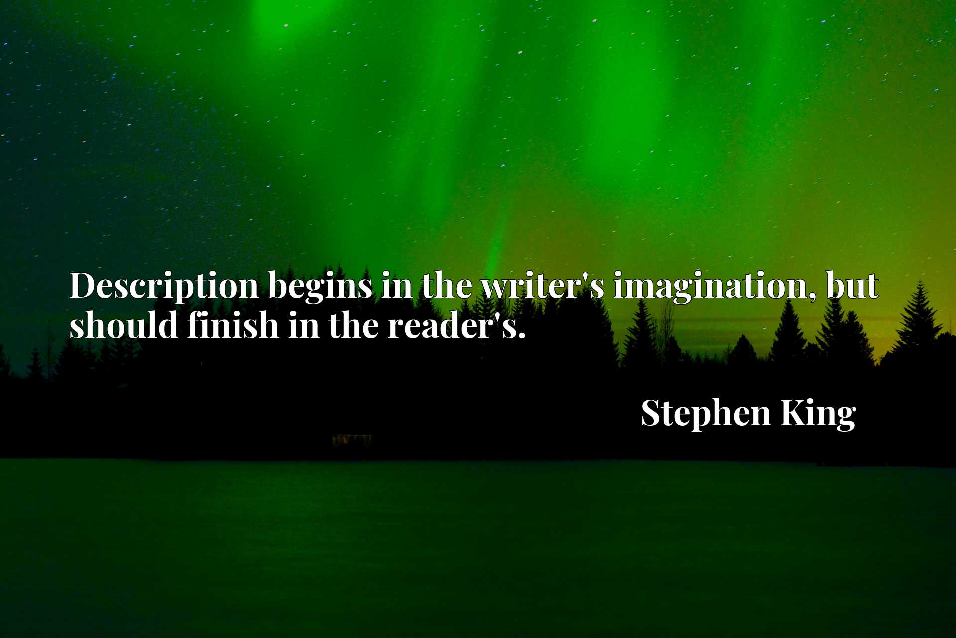 Quote Picture :Description begins in the writer's imagination, but should finish in the reader's.