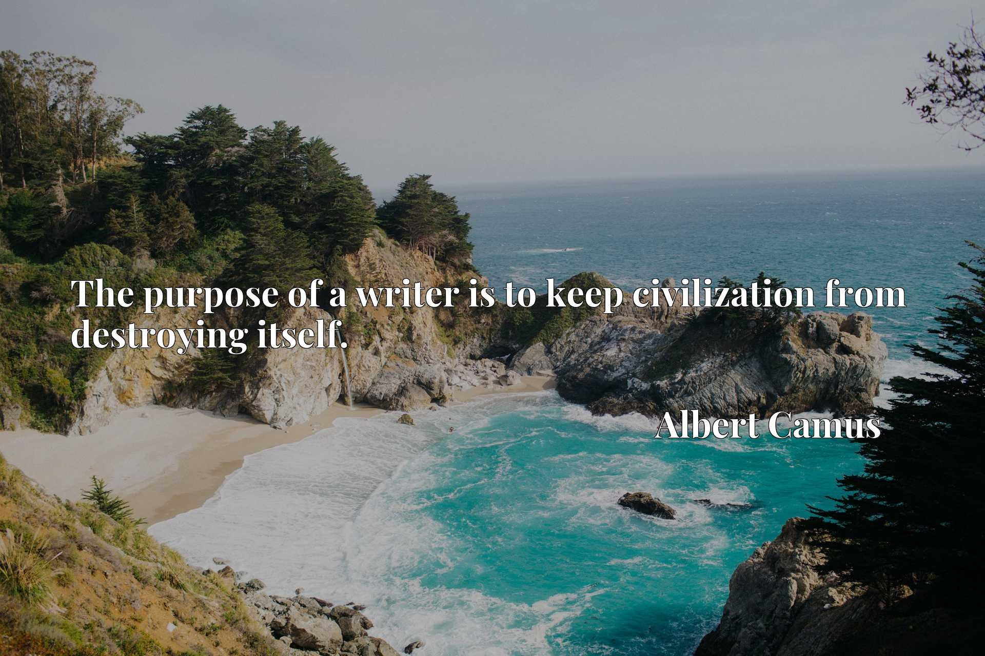 Quote Picture :The purpose of a writer is to keep civilization from destroying itself.