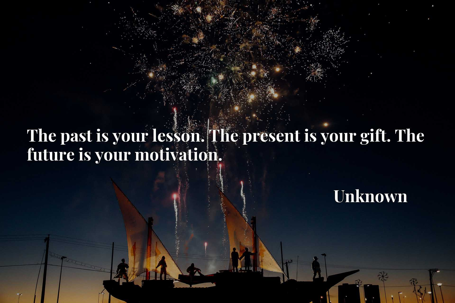 Quote Picture :The past is your lesson. The present is your gift. The future is your motivation.