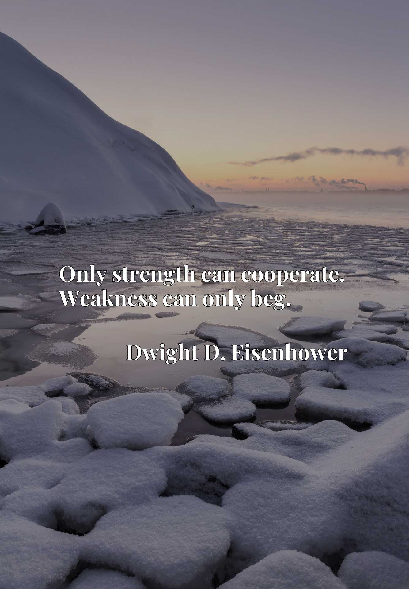 Quote Picture :Only strength can cooperate. Weakness can only beg.