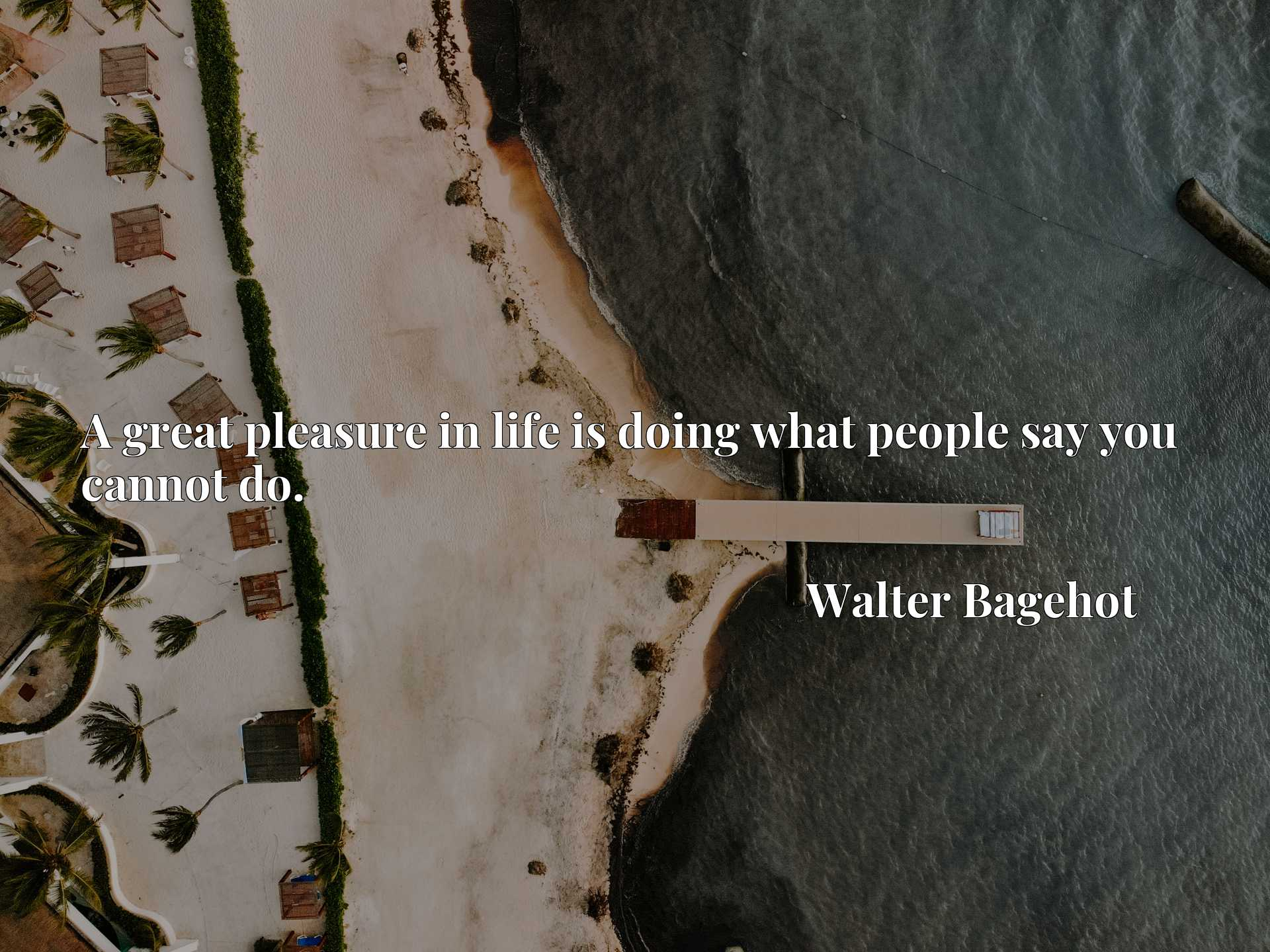 Quote Picture :A great pleasure in life is doing what people say you cannot do.