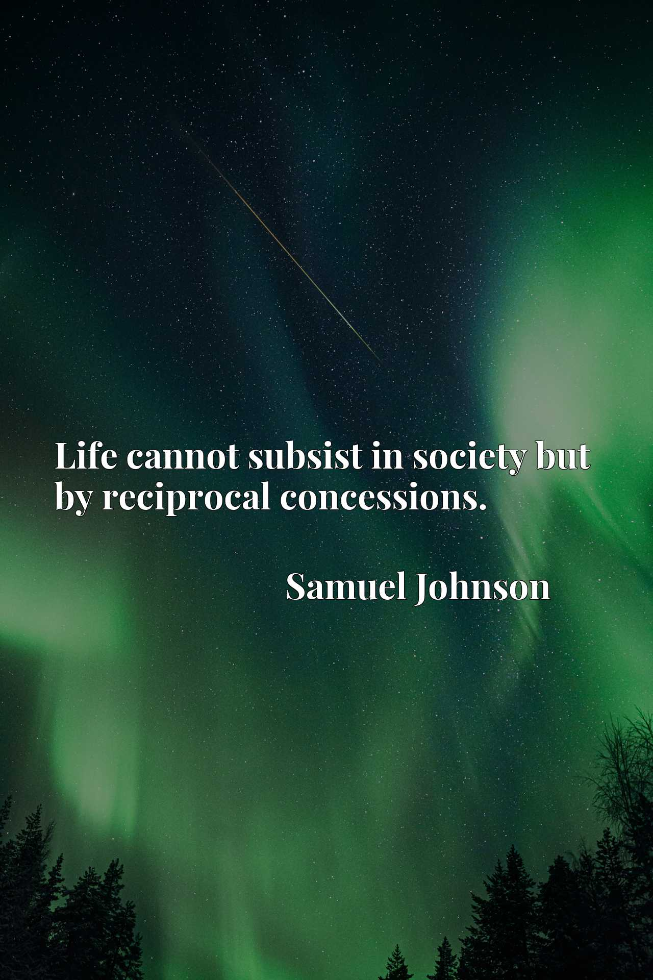 Quote Picture :Life cannot subsist in society but by reciprocal concessions.
