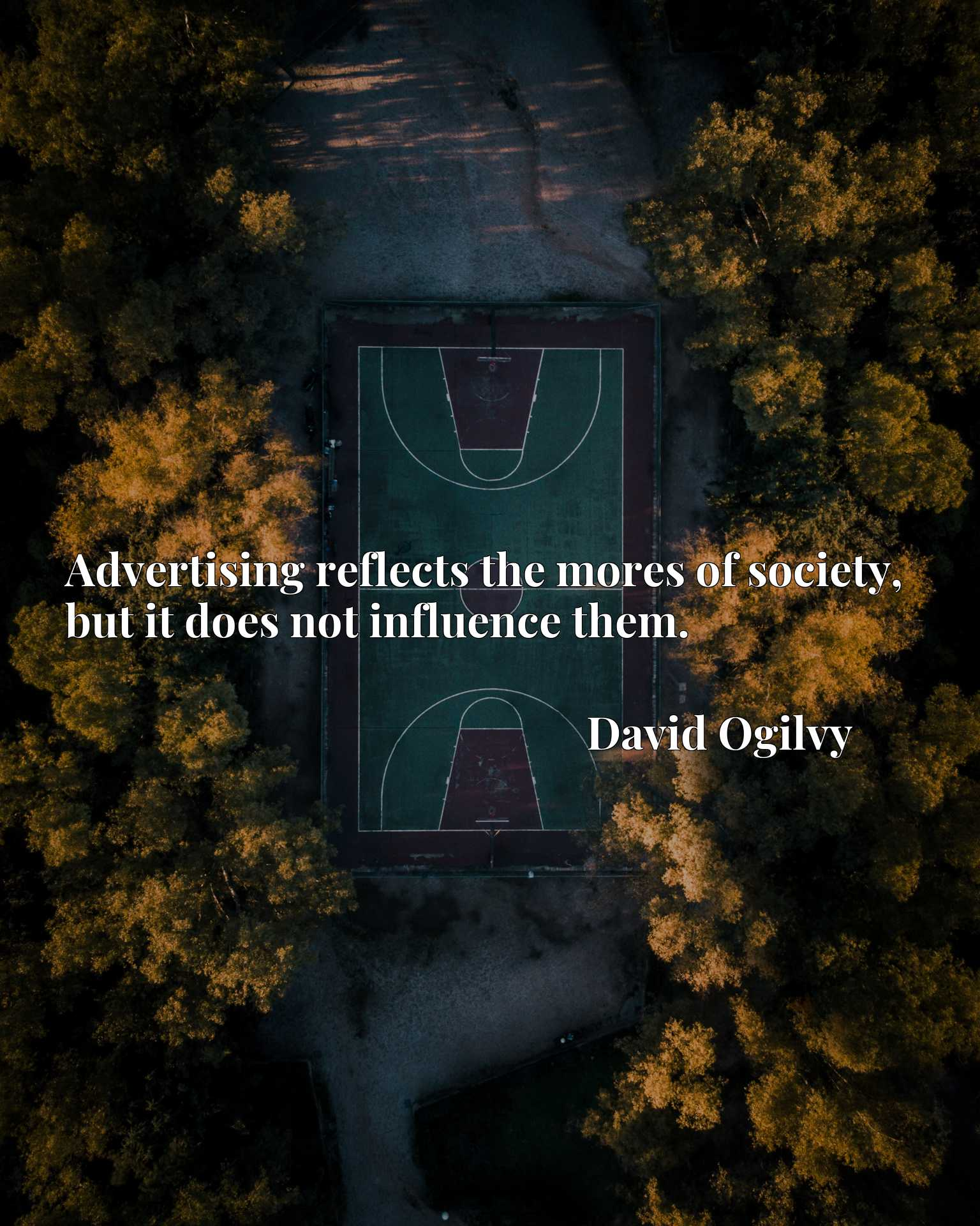 Quote Picture :Advertising reflects the mores of society, but it does not influence them.