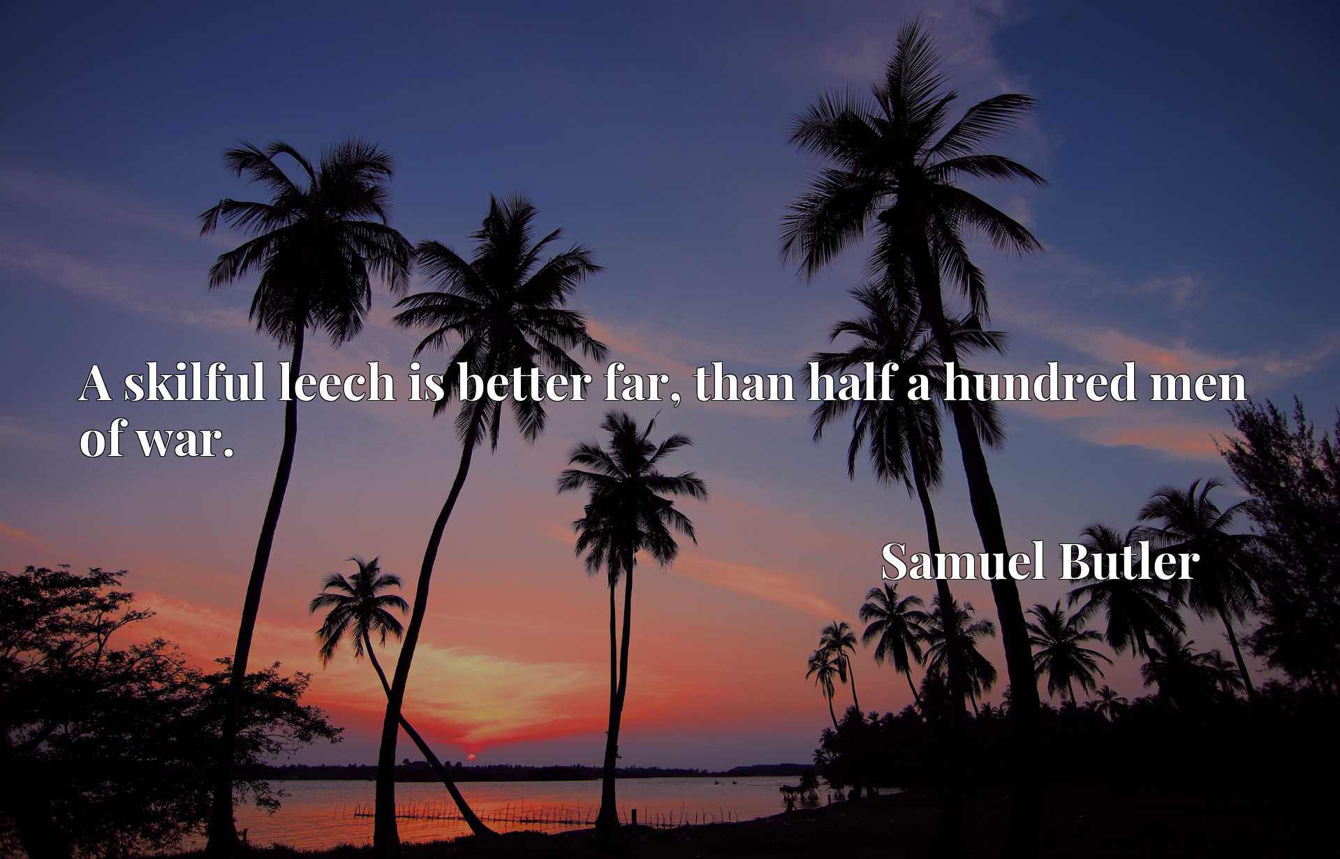 Quote Picture :A skilful leech is better far, than half a hundred men of war.