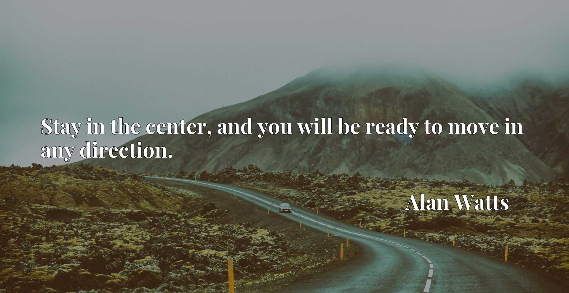 Quote Picture :Stay in the center, and you will be ready to move in any direction.