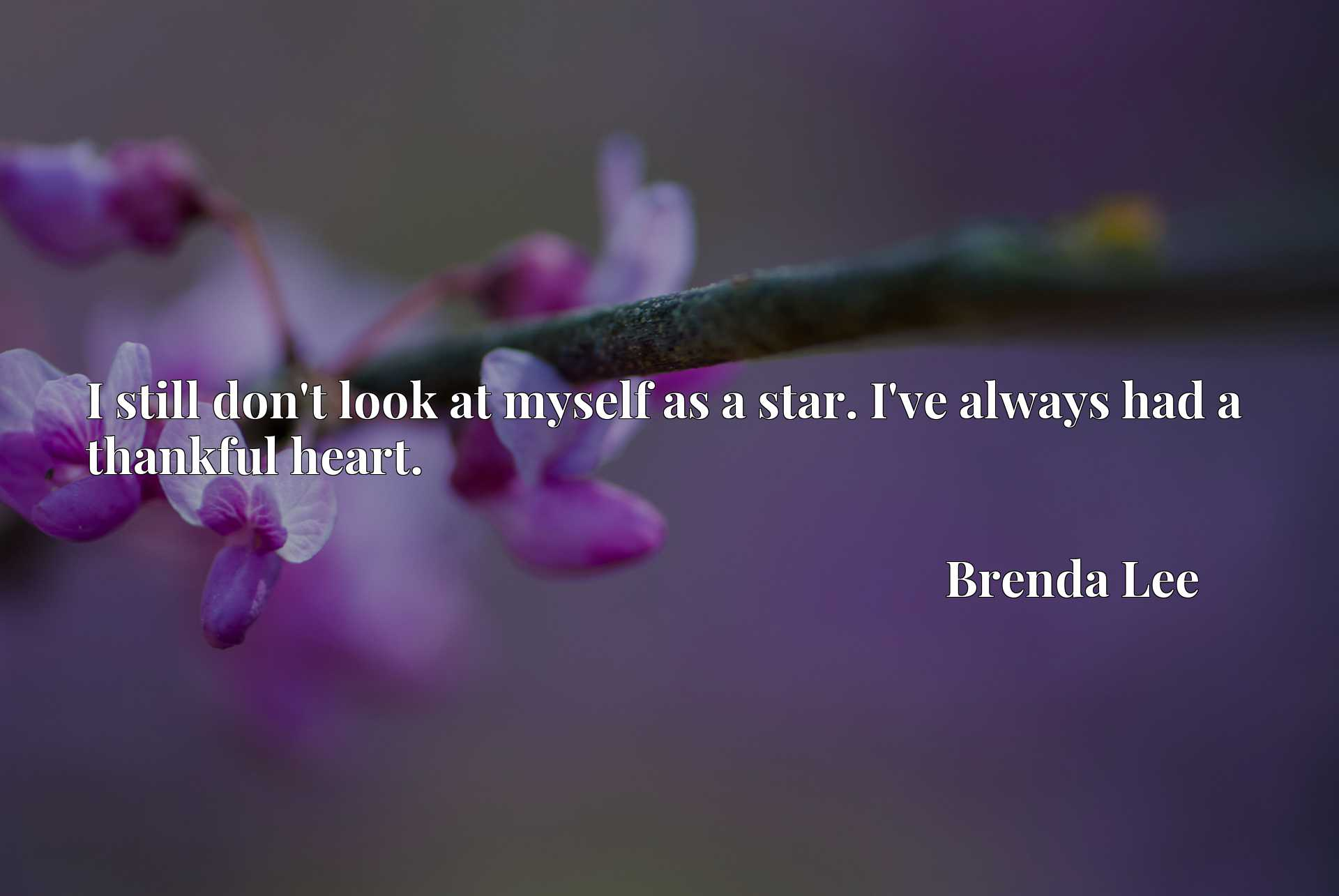 Quote Picture :I still don't look at myself as a star. I've always had a thankful heart.