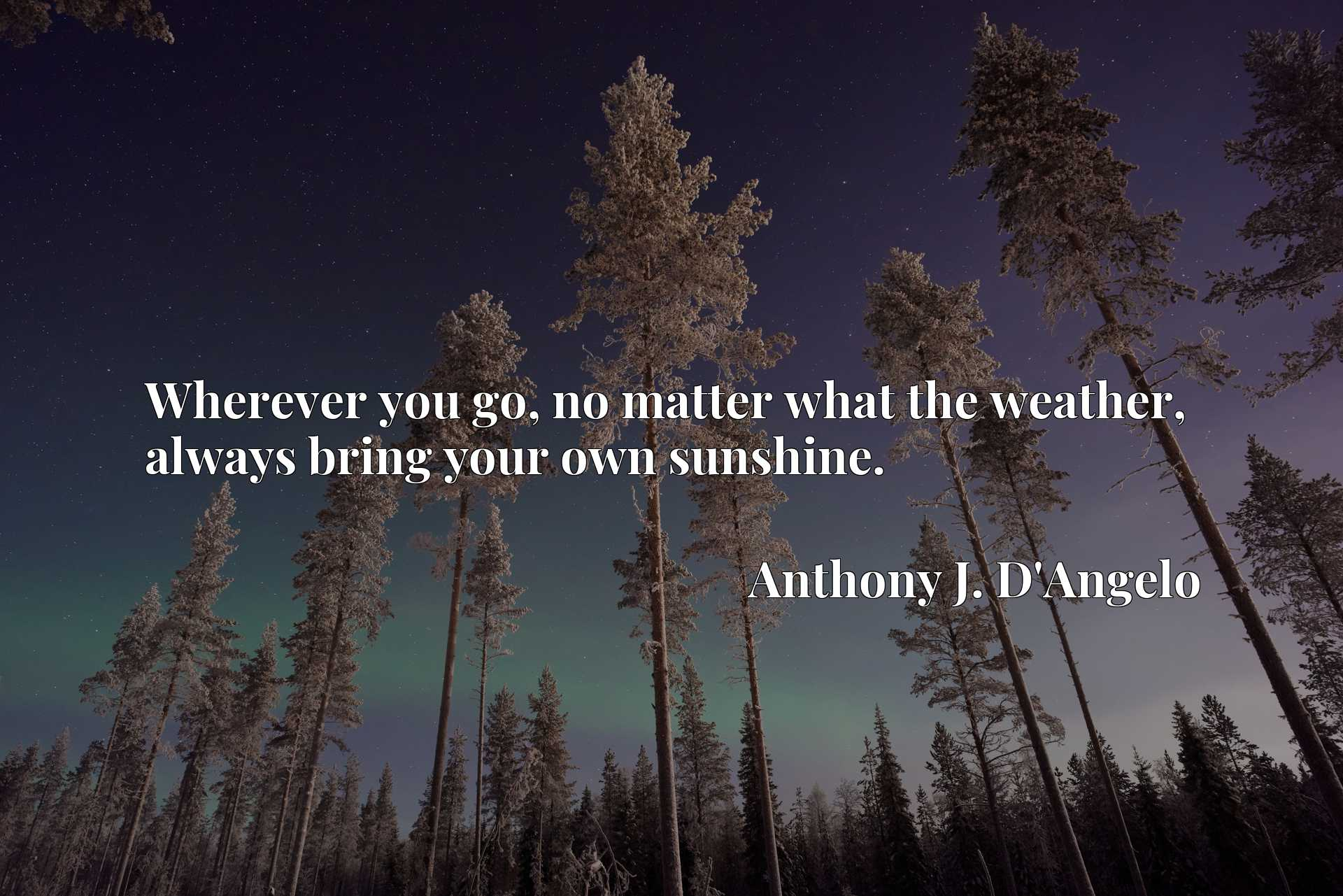 Quote Picture :Wherever you go, no matter what the weather, always bring your own sunshine.