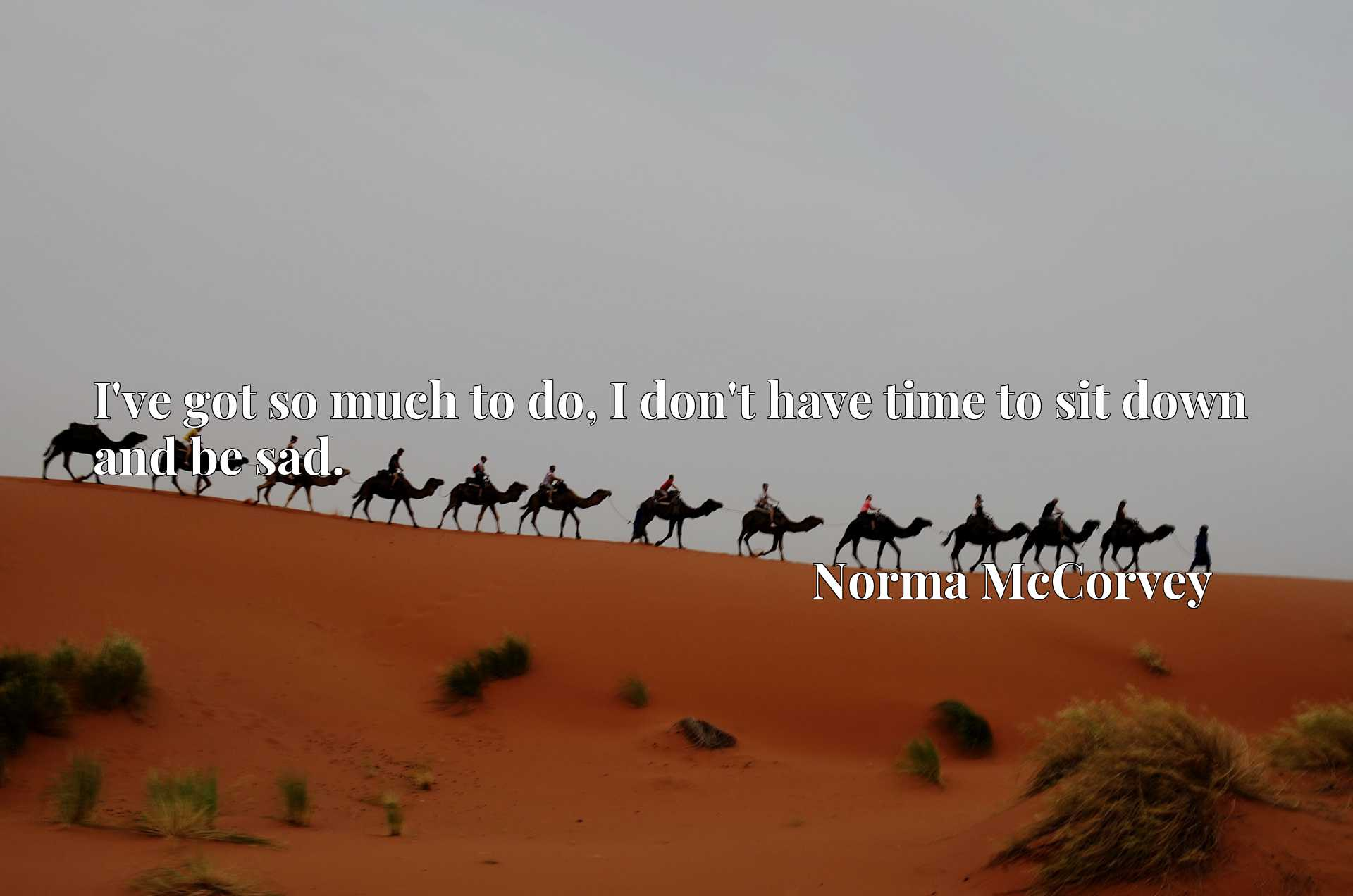 Quote Picture :I've got so much to do, I don't have time to sit down and be sad.