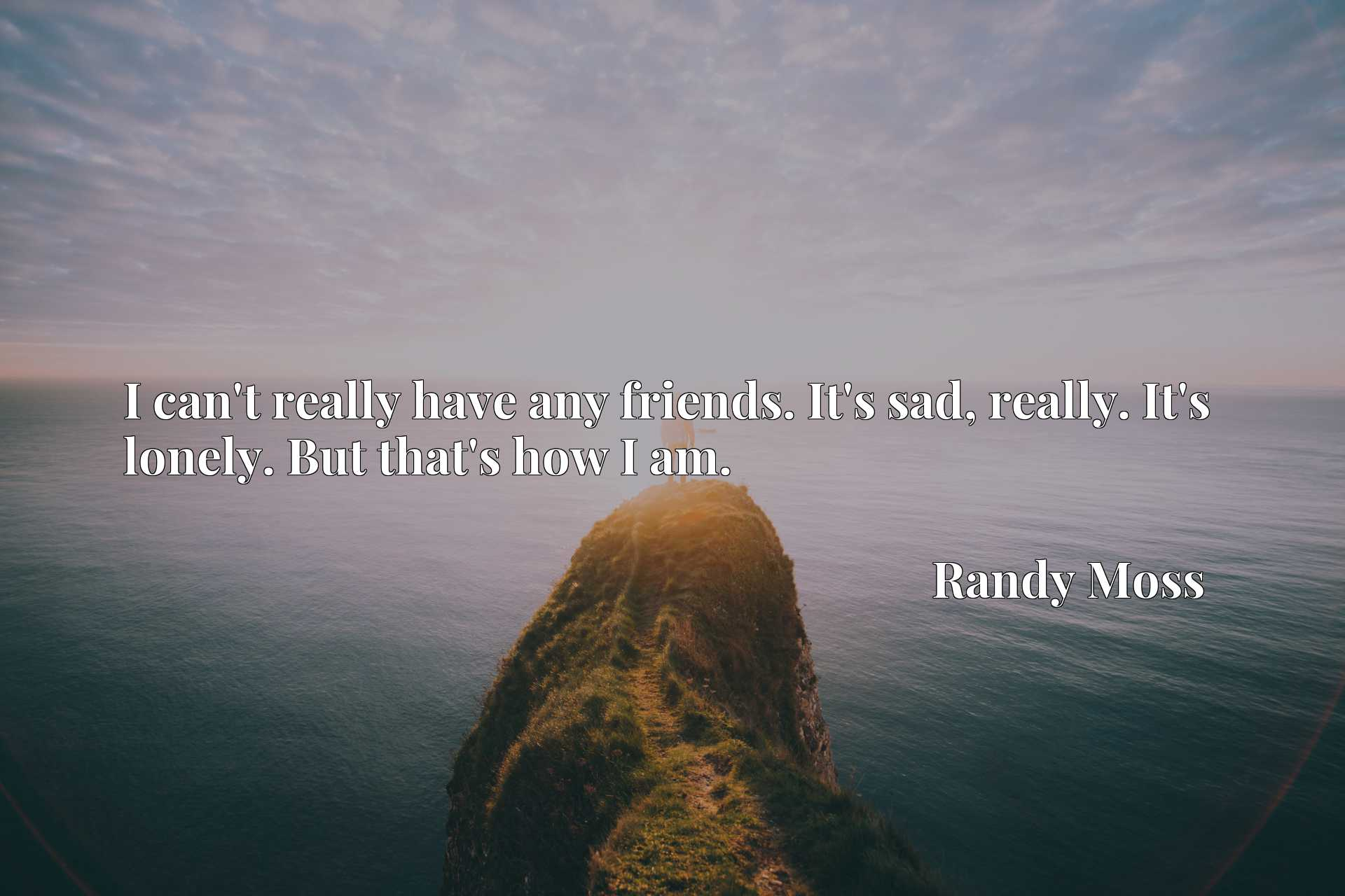Quote Picture :I can't really have any friends. It's sad, really. It's lonely. But that's how I am.