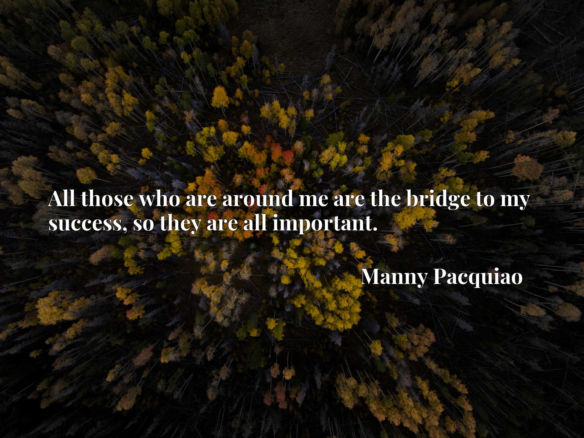 Quote Picture :All those who are around me are the bridge to my success, so they are all important.