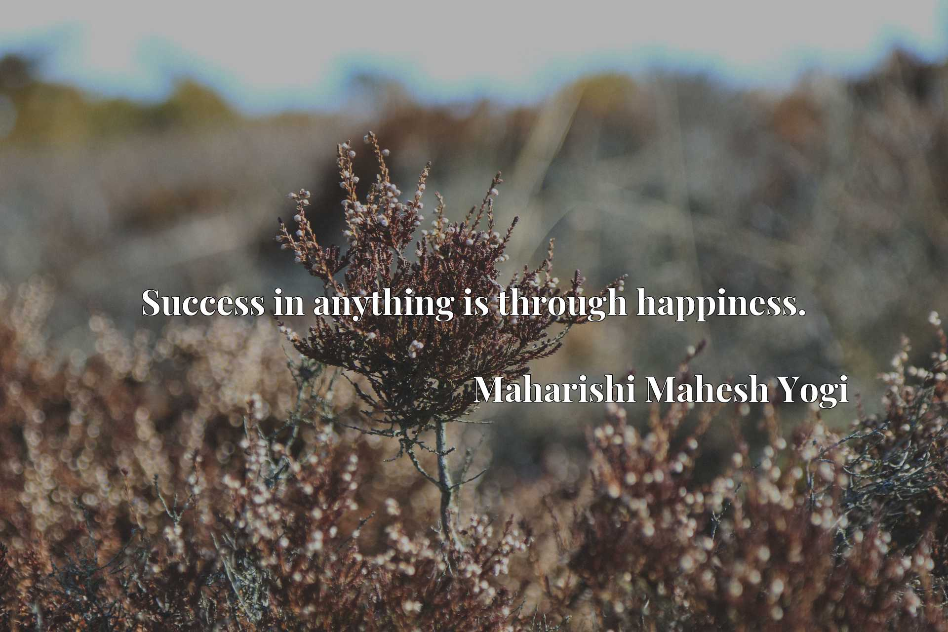 Quote Picture :Success in anything is through happiness.