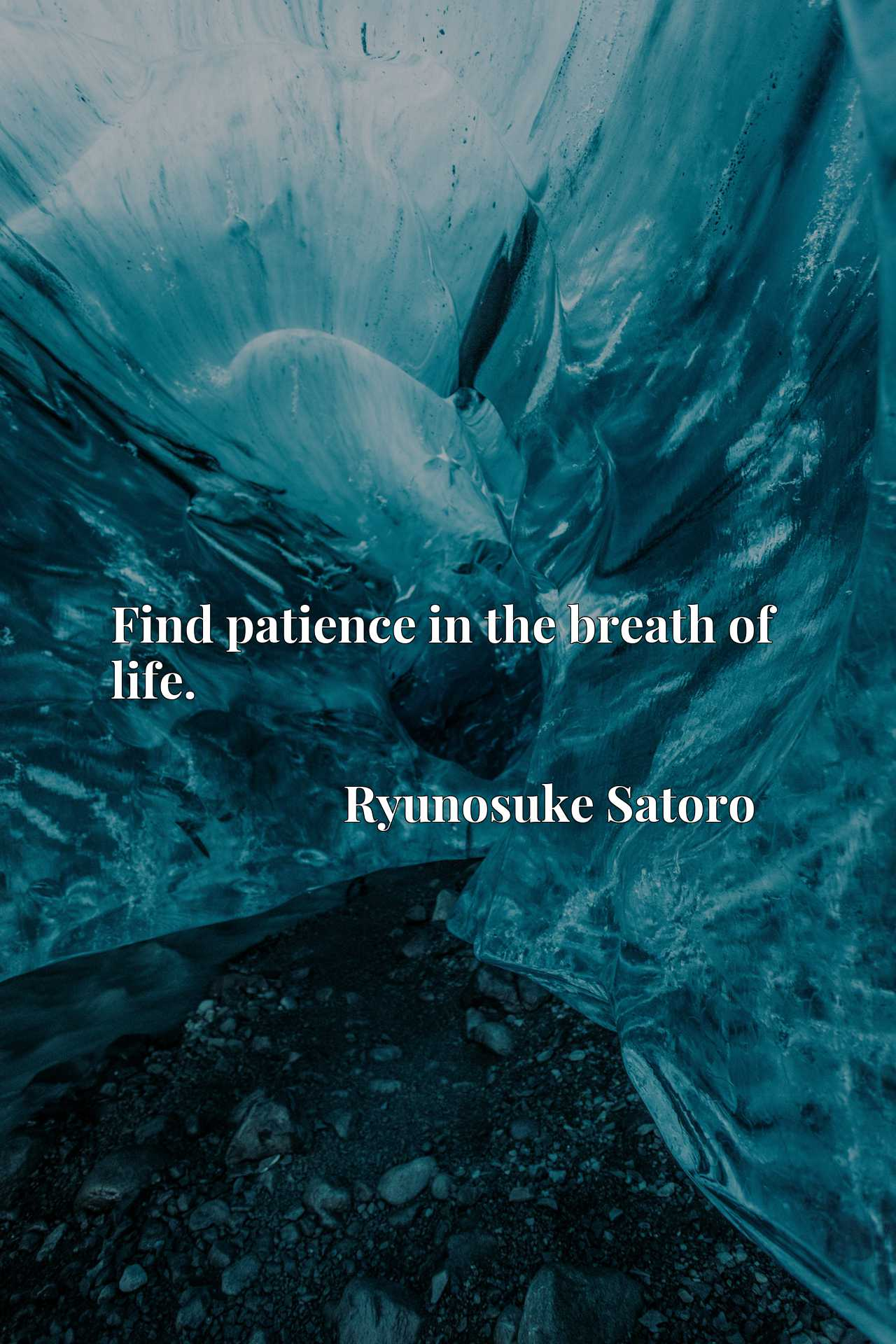 Quote Picture :Find patience in the breath of life.