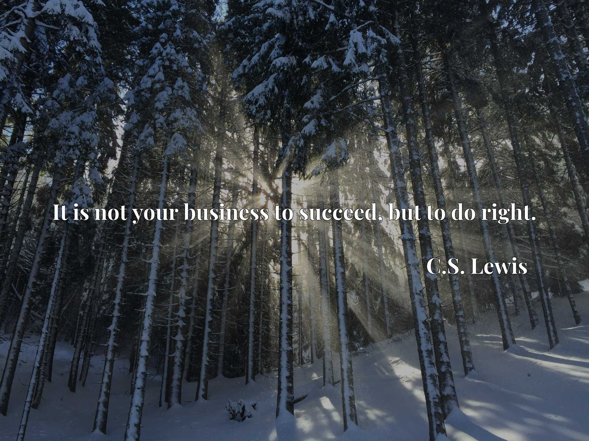 Quote Picture :It is not your business to succeed, but to do right.