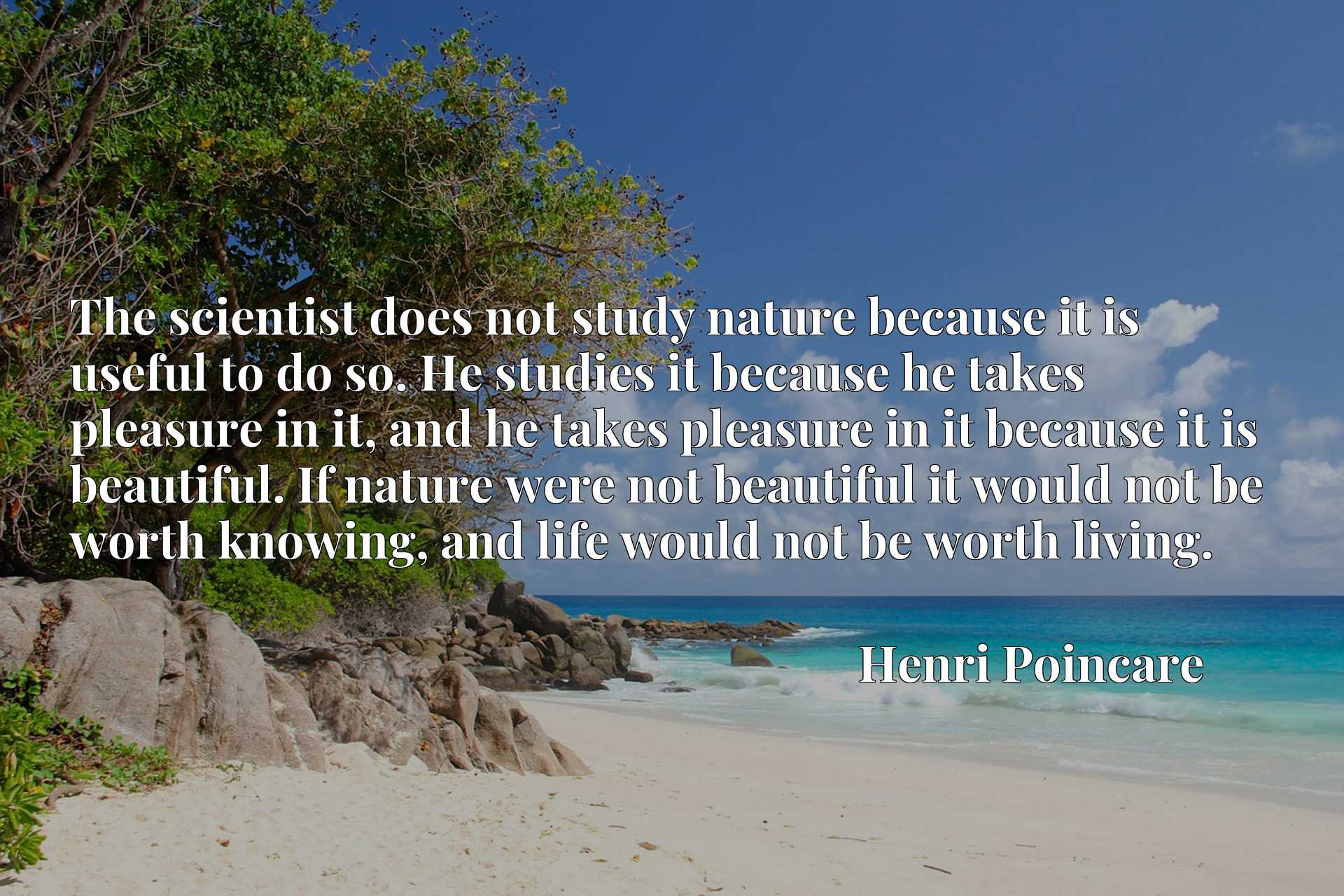 The scientist does not study nature because it is useful to do so. He studies it because he takes pleasure in it, and he takes pleasure in it because it is beautiful. If nature were not beautiful it would not be worth knowing, and life would not be worth living.