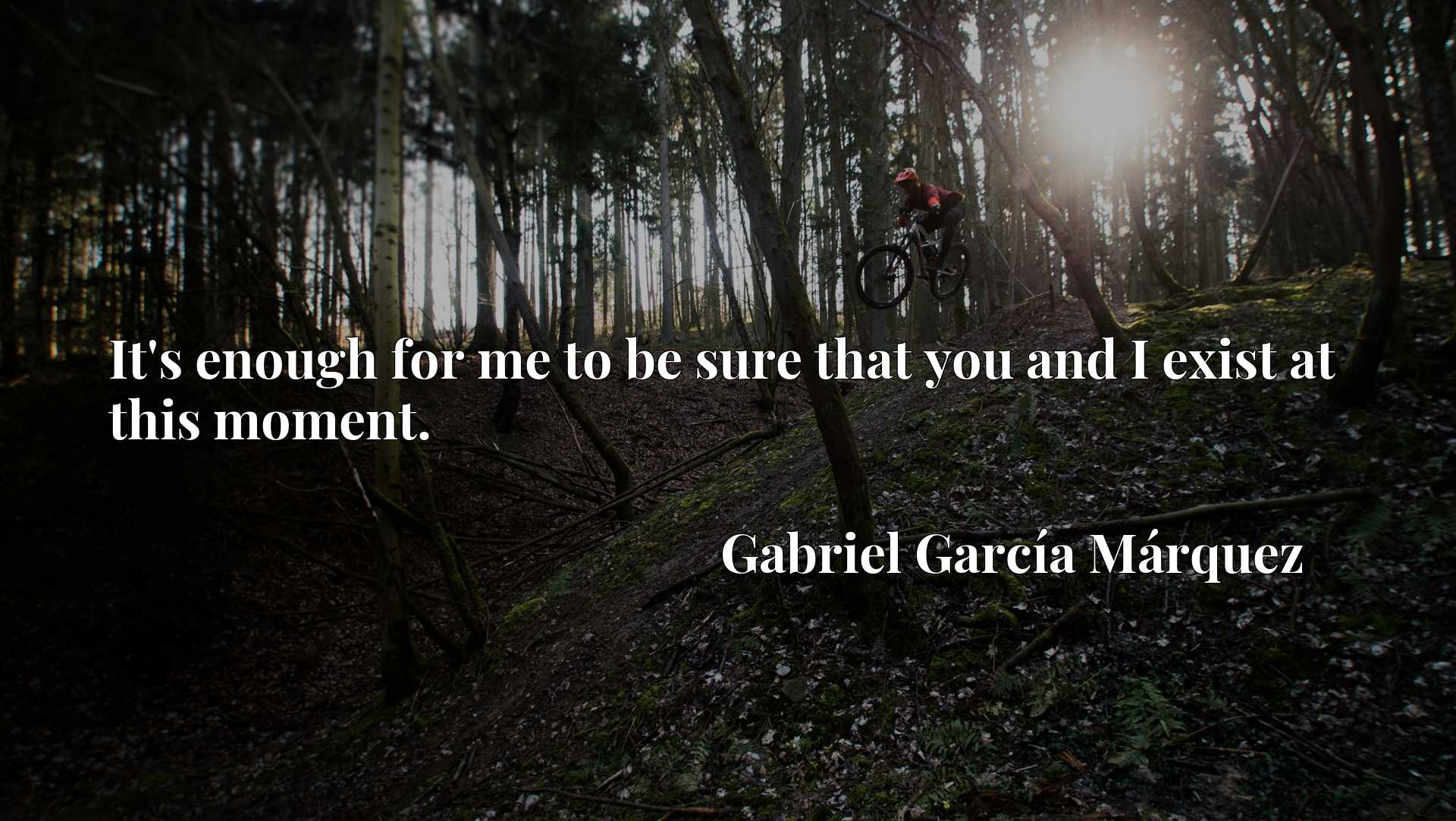 Quote Picture :It's enough for me to be sure that you and I exist at this moment.