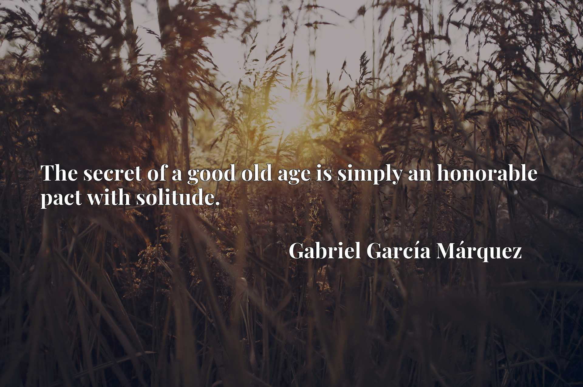 Quote Picture :The secret of a good old age is simply an honorable pact with solitude.