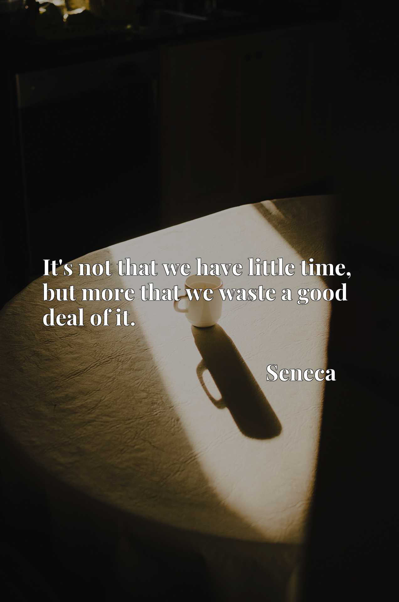 Quote Picture :It's not that we have little time, but more that we waste a good deal of it.