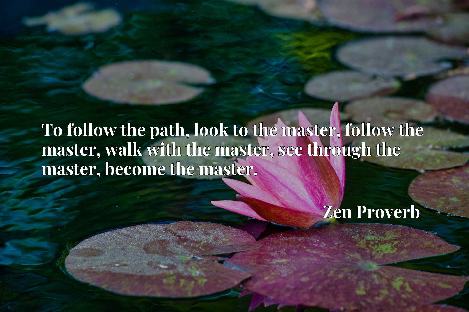 To follow the path, look to the master, follow the master, walk with the master, see through the master, become the master.