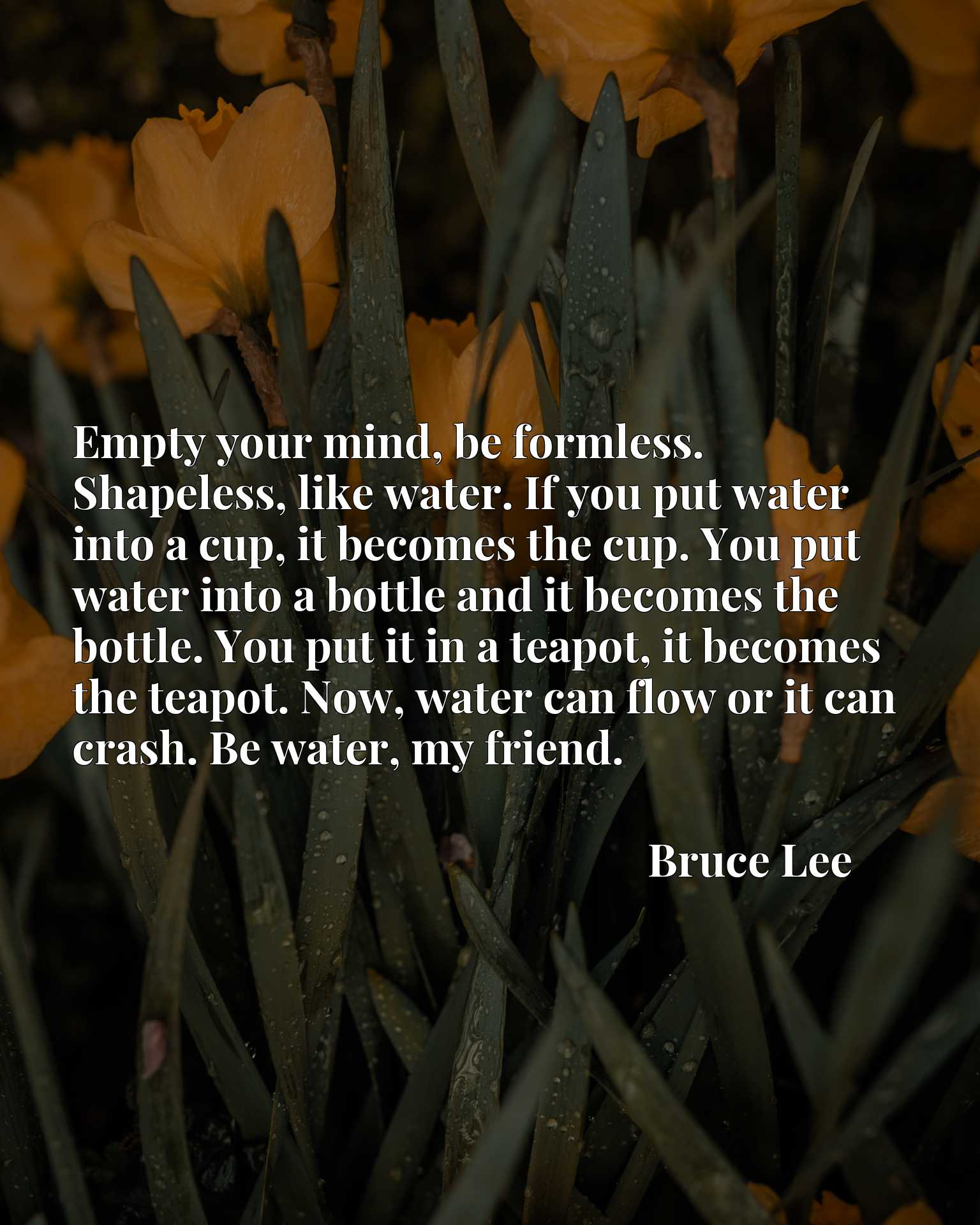 Empty your mind, be formless. Shapeless, like water. If you put water into a cup, it becomes the cup. You put water into a bottle and it becomes the bottle. You put it in a teapot, it becomes the teapot. Now, water can flow or it can crash. Be water, my friend.