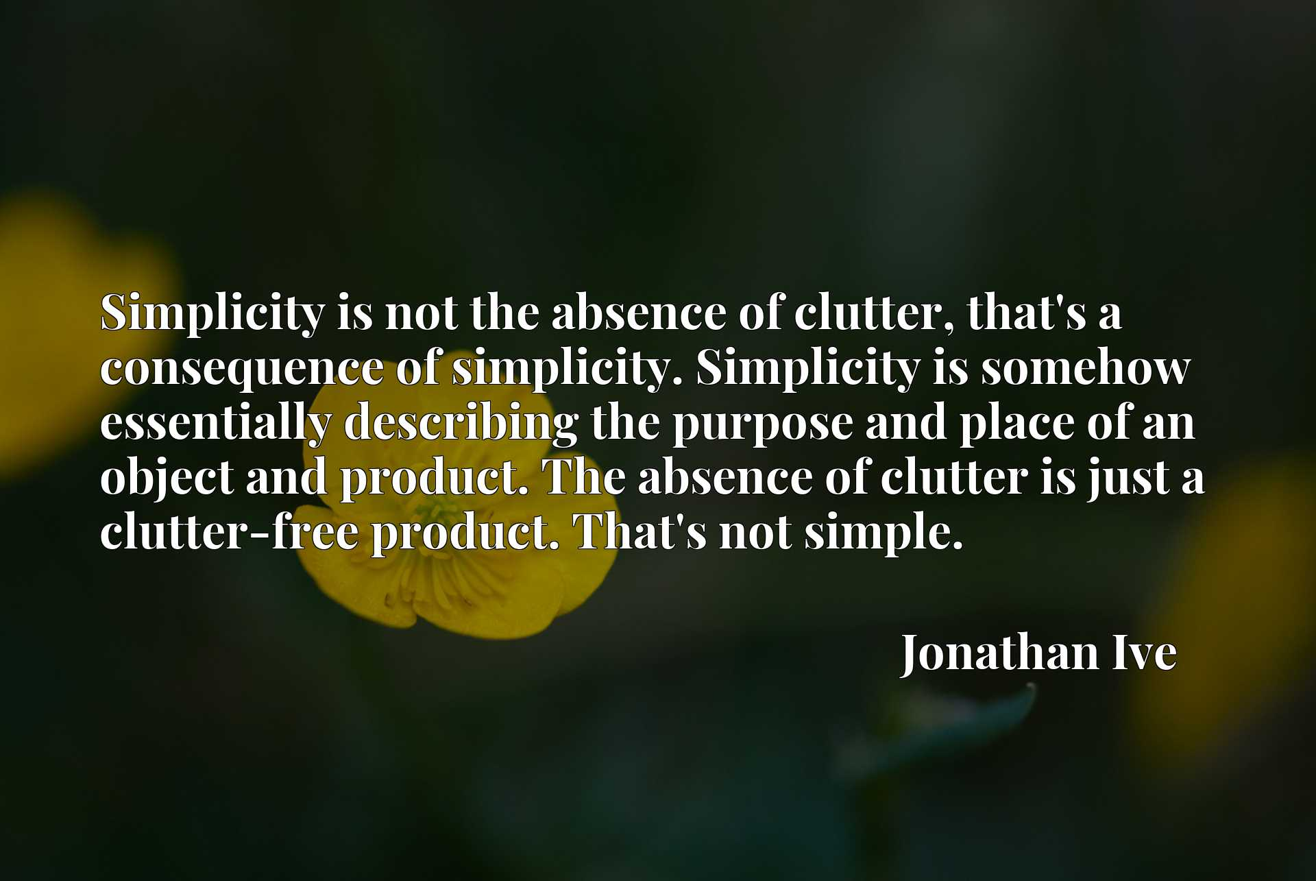 Simplicity is not the absence of clutter, that's a consequence of simplicity. Simplicity is somehow essentially describing the purpose and place of an object and product. The absence of clutter is just a clutter-free product. That's not simple.