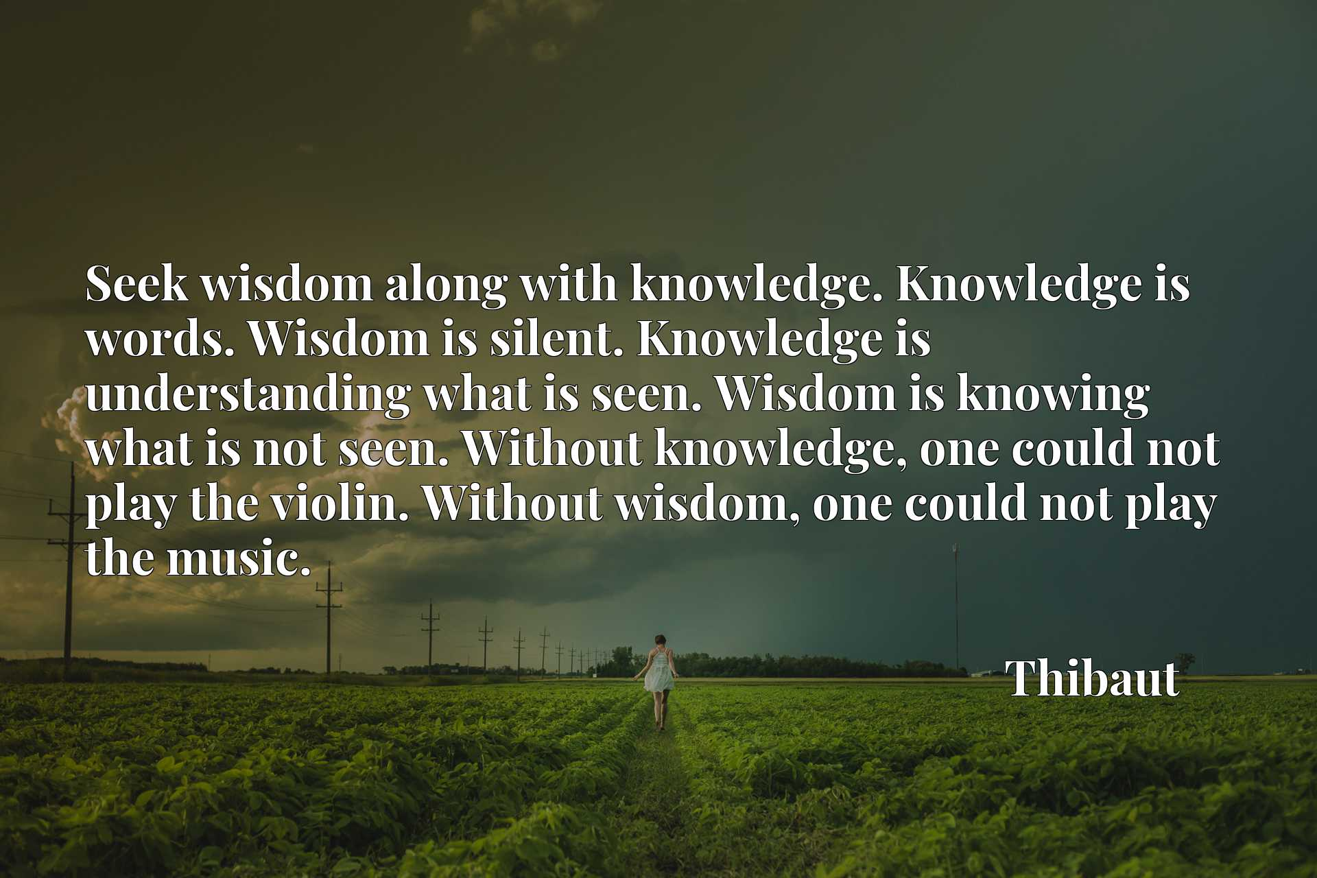Seek wisdom along with knowledge. Knowledge is words. Wisdom is silent. Knowledge is understanding what is seen. Wisdom is knowing what is not seen. Without knowledge, one could not play the violin. Without wisdom, one could not play the music.