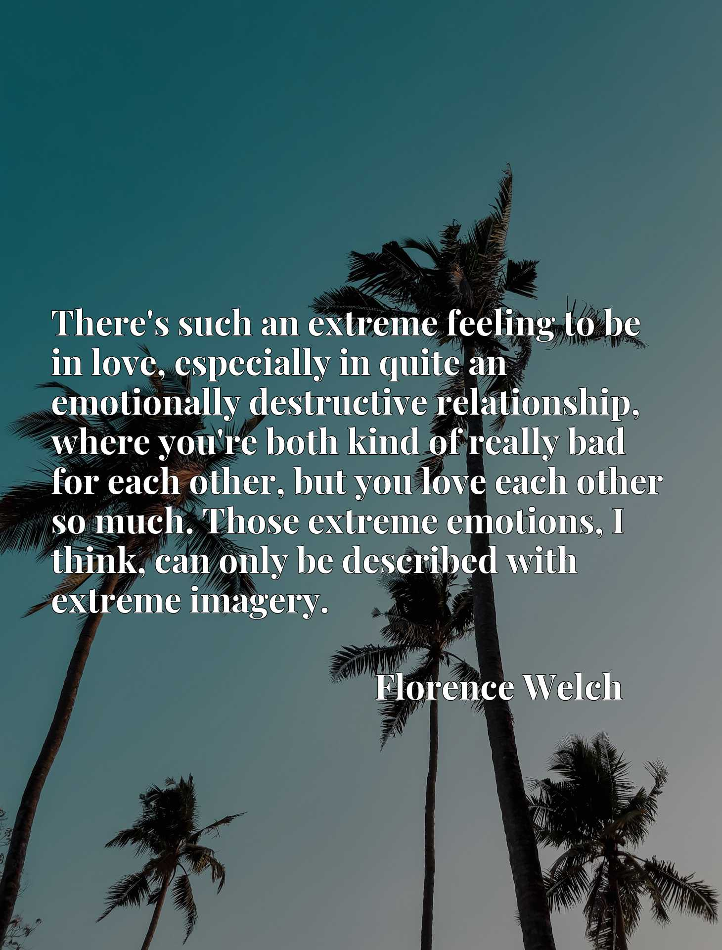 There's such an extreme feeling to be in love, especially in quite an emotionally destructive relationship, where you're both kind of really bad for each other, but you love each other so much. Those extreme emotions, I think, can only be described with extreme imagery.
