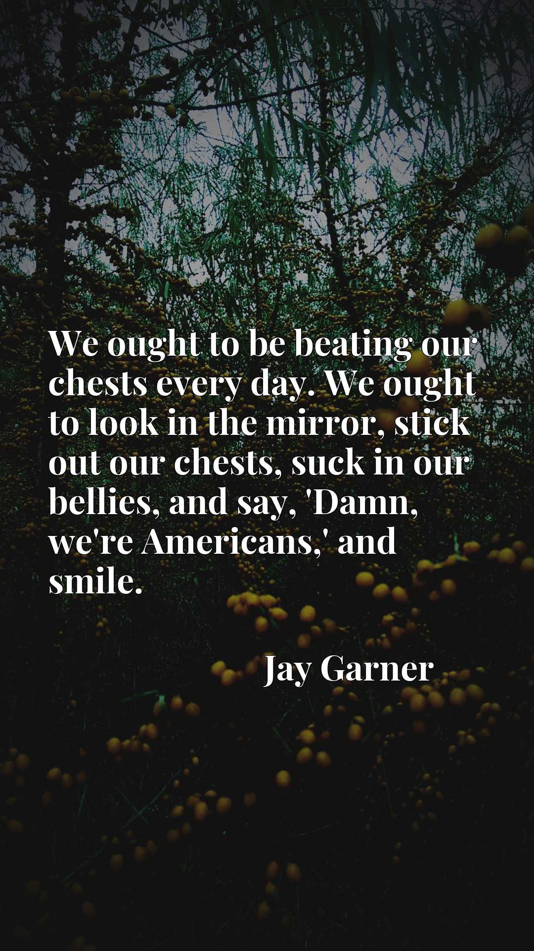 We ought to be beating our chests every day. We ought to look in the mirror, stick out our chests, suck in our bellies, and say, 'Damn, we're Americans,' and smile.