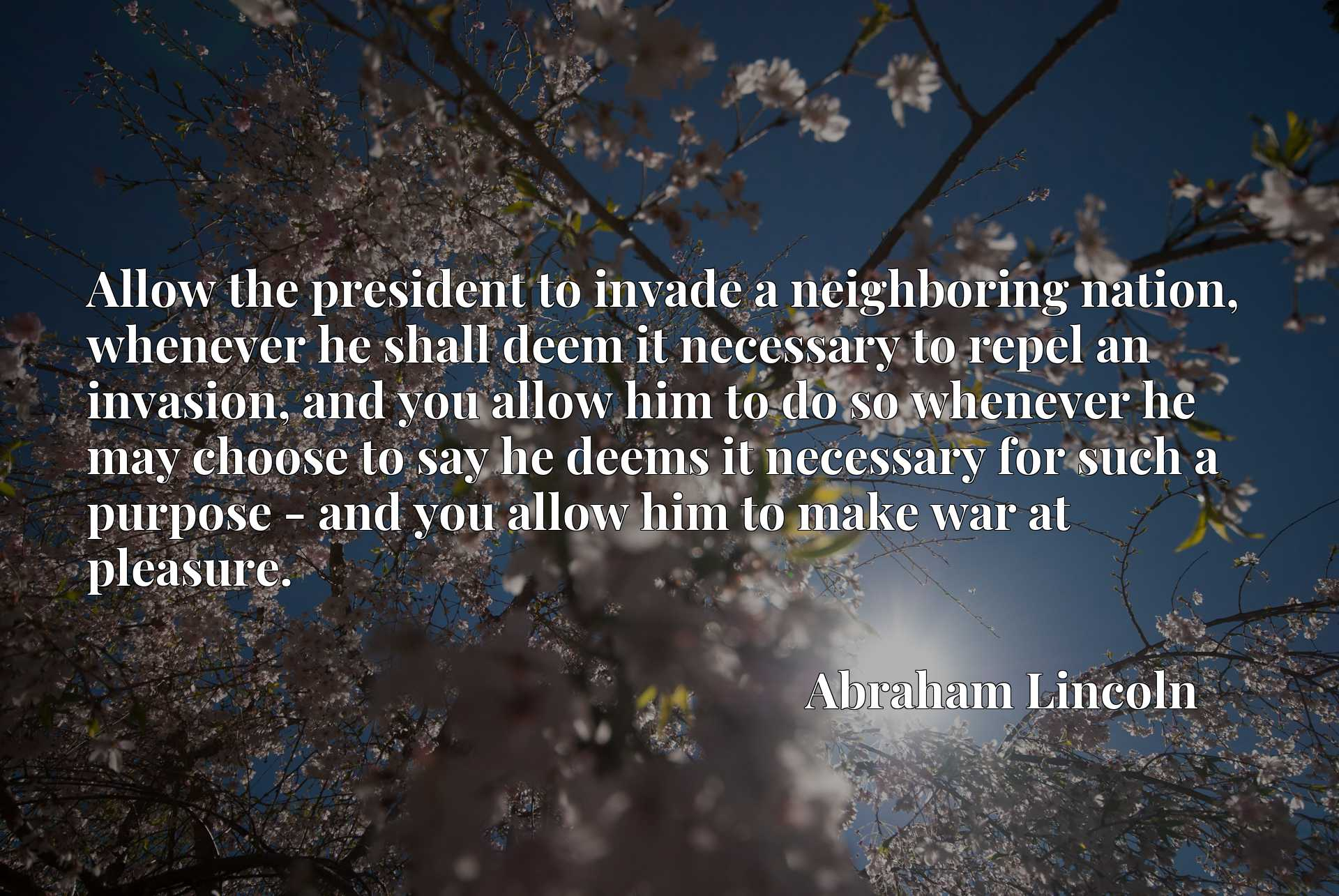 Allow the president to invade a neighboring nation, whenever he shall deem it necessary to repel an invasion, and you allow him to do so whenever he may choose to say he deems it necessary for such a purpose - and you allow him to make war at pleasure.