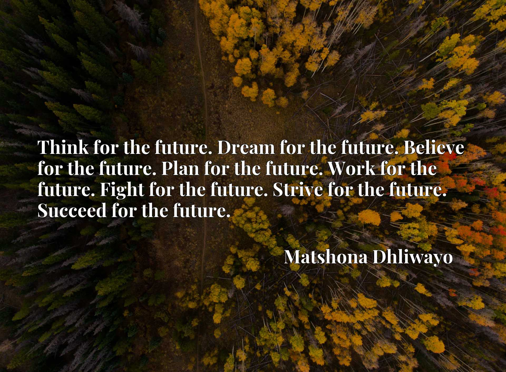 Think for the future. Dream for the future. Believe for the future. Plan for the future. Work for the future. Fight for the future. Strive for the future. Succeed for the future.