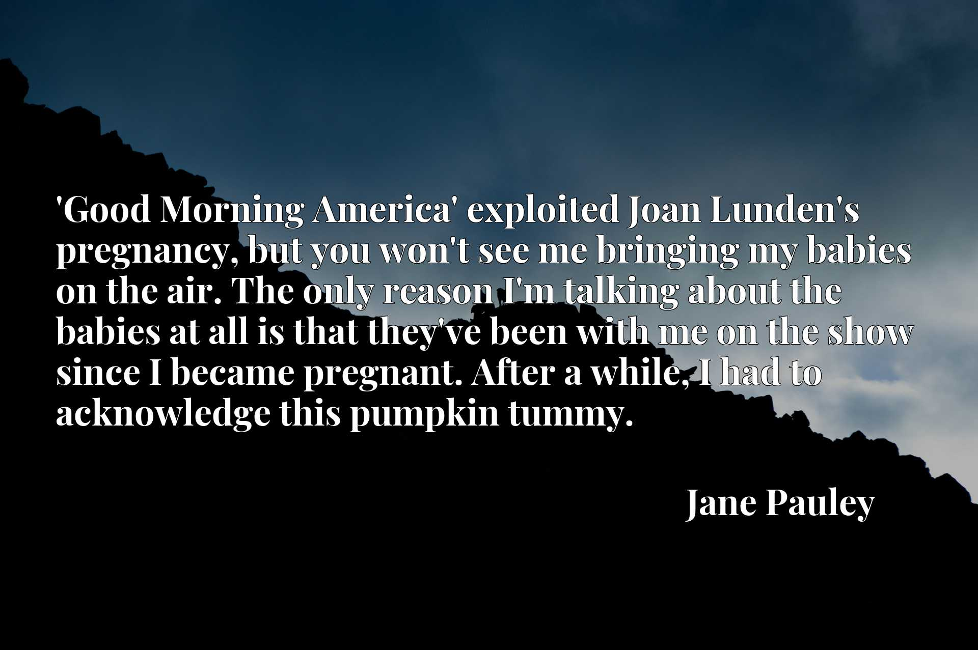 'Good Morning America' exploited Joan Lunden's pregnancy, but you won't see me bringing my babies on the air. The only reason I'm talking about the babies at all is that they've been with me on the show since I became pregnant. After a while, I had to acknowledge this pumpkin tummy.