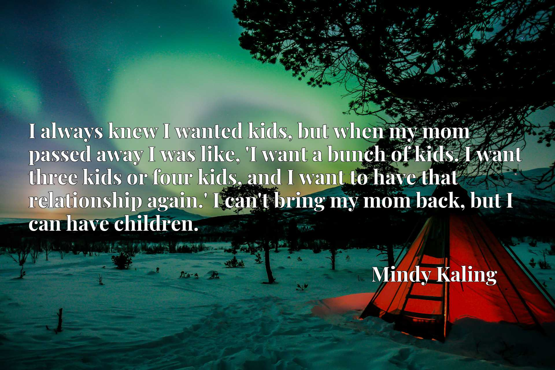 I always knew I wanted kids, but when my mom passed away I was like, 'I want a bunch of kids. I want three kids or four kids, and I want to have that relationship again.' I can't bring my mom back, but I can have children.