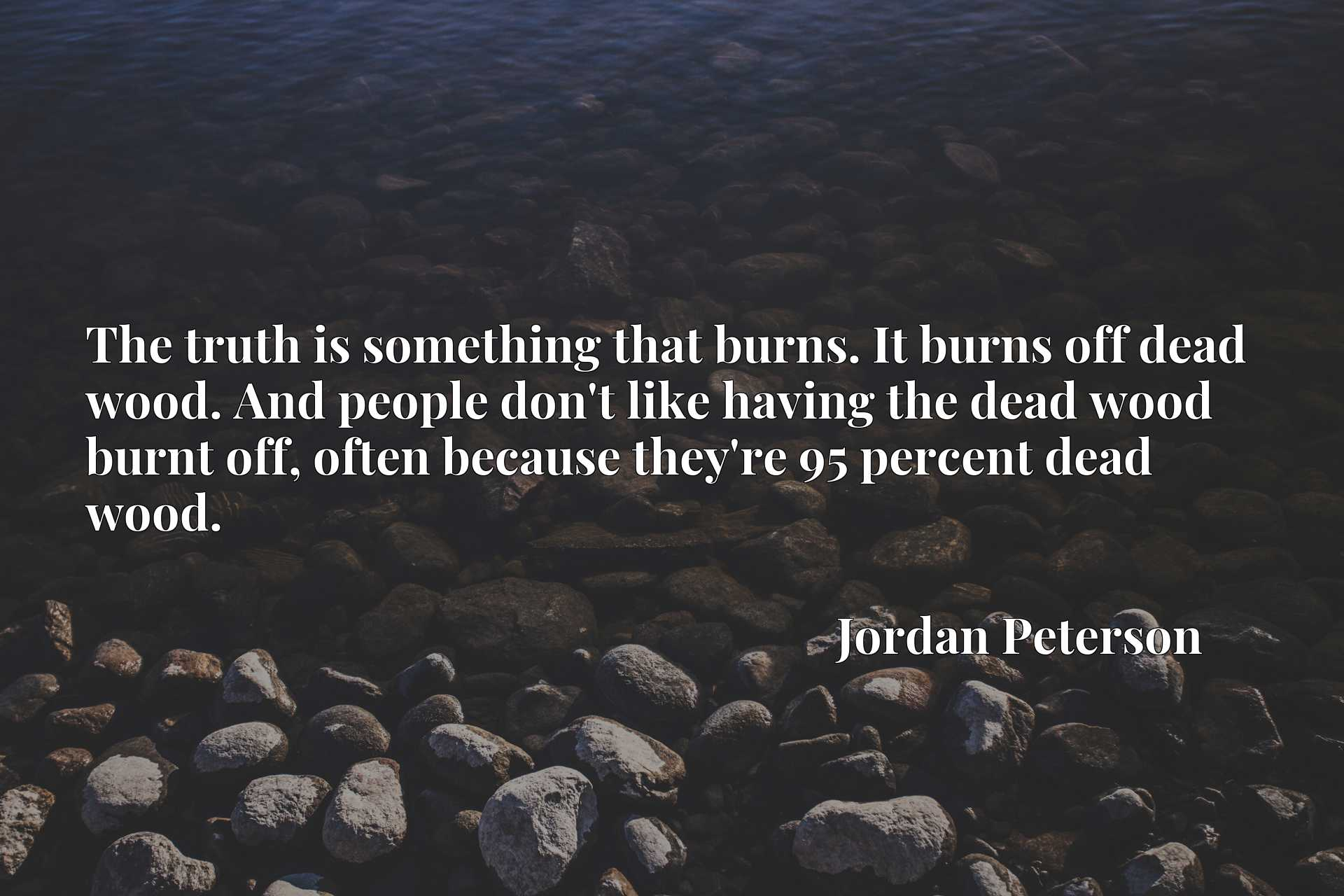 The truth is something that burns. It burns off dead wood. And people don't like having the dead wood burnt off, often because they're 95 percent dead wood.