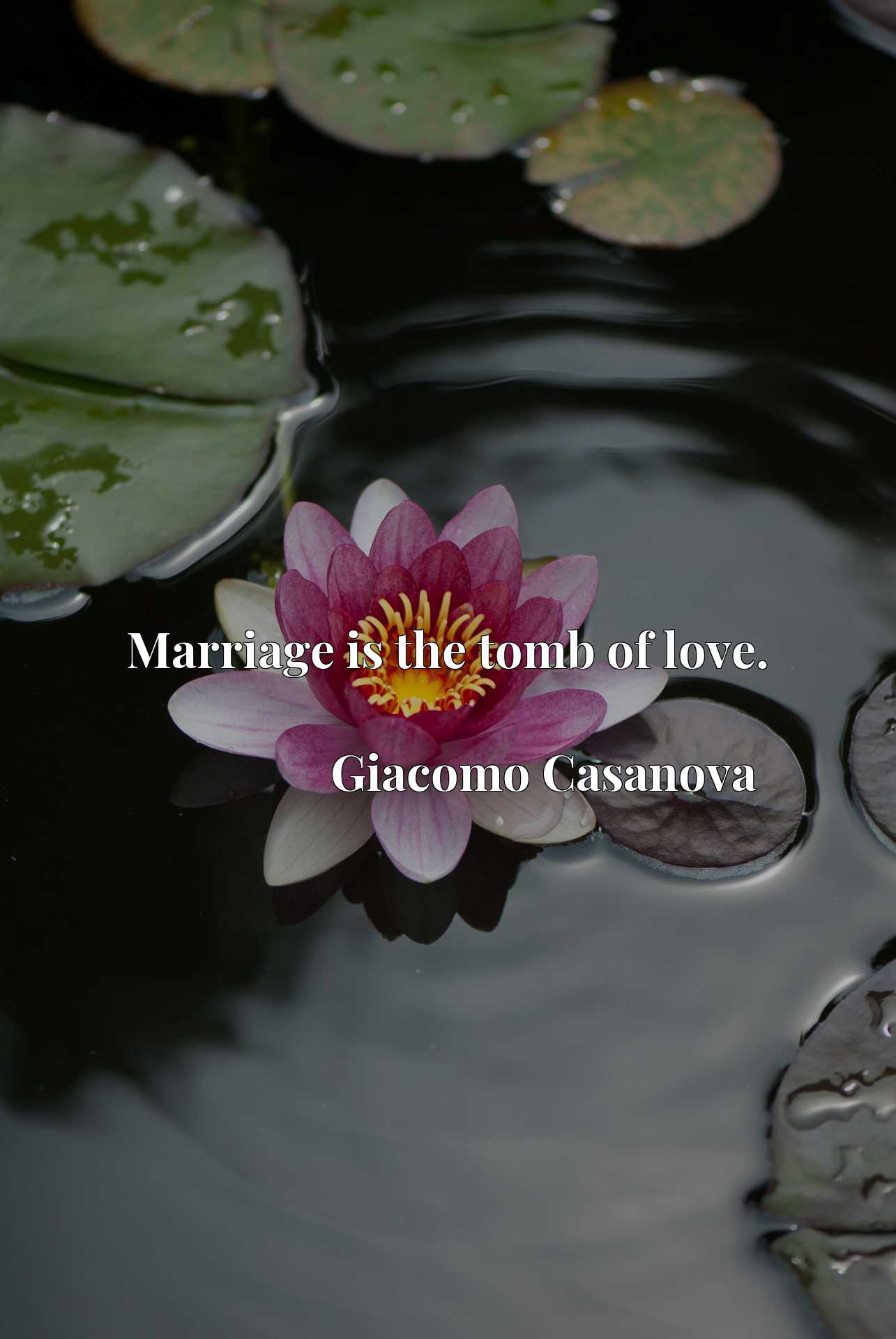 Marriage is the tomb of love.