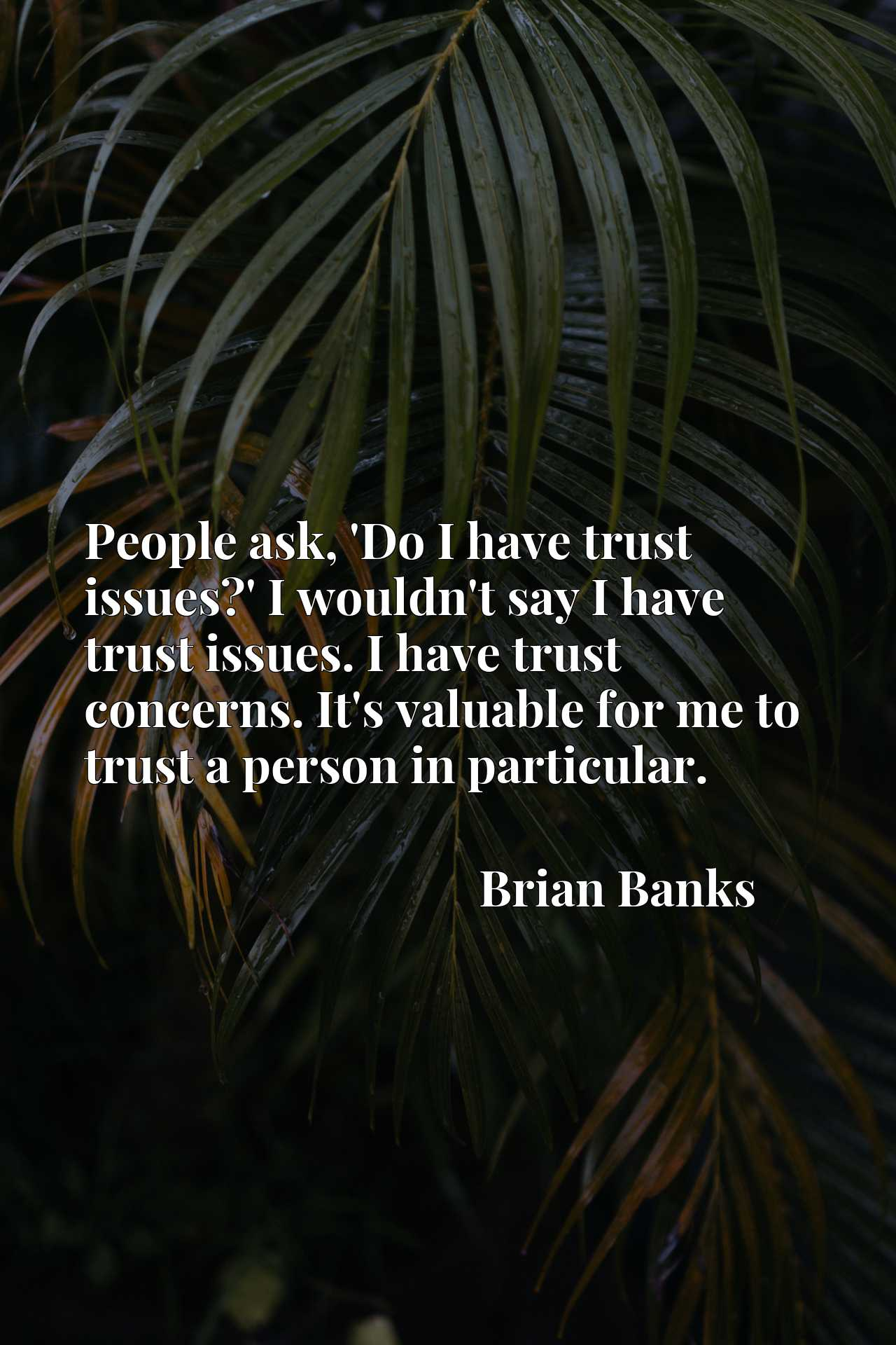 People ask, 'Do I have trust issues?' I wouldn't say I have trust issues. I have trust concerns. It's valuable for me to trust a person in particular.