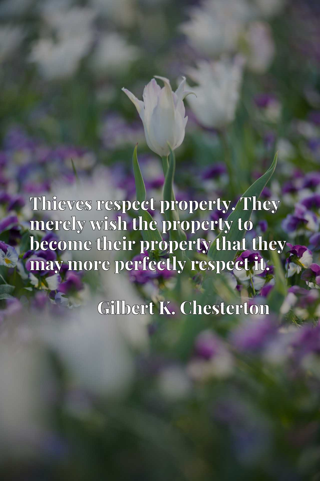 Thieves respect property. They merely wish the property to become their property that they may more perfectly respect it.