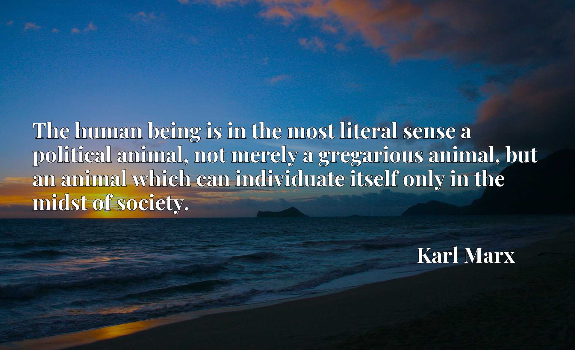 The human being is in the most literal sense a political animal, not merely a gregarious animal, but an animal which can individuate itself only in the midst of society.