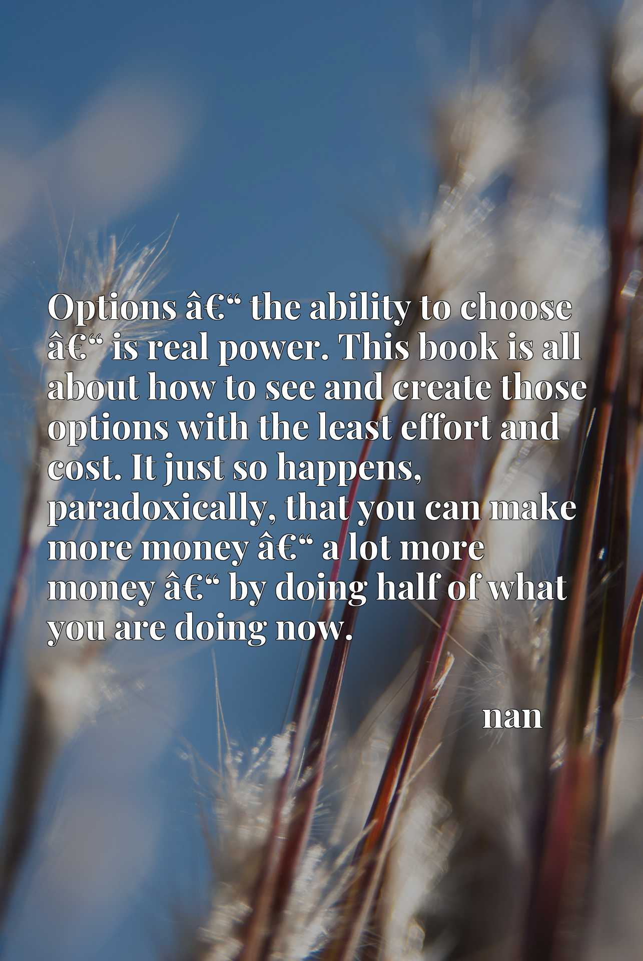 """Options aEUR"""" the ability to choose aEUR"""" is real power. This book is all about how to see and create those options with the least effort and cost. It just so happens, paradoxically, that you can make more money aEUR"""" a lot more money aEUR"""" by doing half of what you are doing now."""
