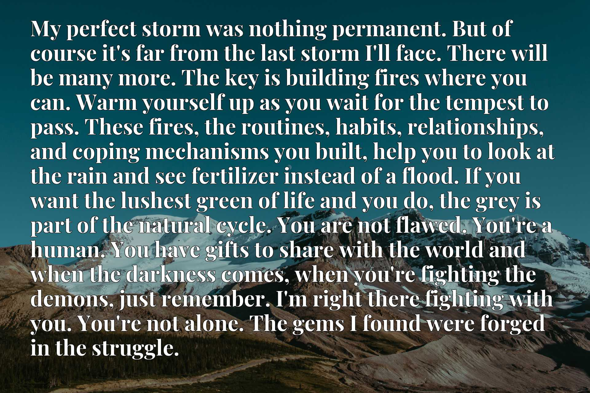 My perfect storm was nothing permanent. But of course it's far from the last storm I'll face. There will be many more. The key is building fires where you can. Warm yourself up as you wait for the tempest to pass. These fires, the routines, habits, relationships, and coping mechanisms you built, help you to look at the rain and see fertilizer instead of a flood. If you want the lushest green of life and you do, the grey is part of the natural cycle. You are not flawed. You're a human. You have gifts to share with the world and when the darkness comes, when you're fighting the demons, just remember. I'm right there fighting with you. You're not alone. The gems I found were forged in the struggle.