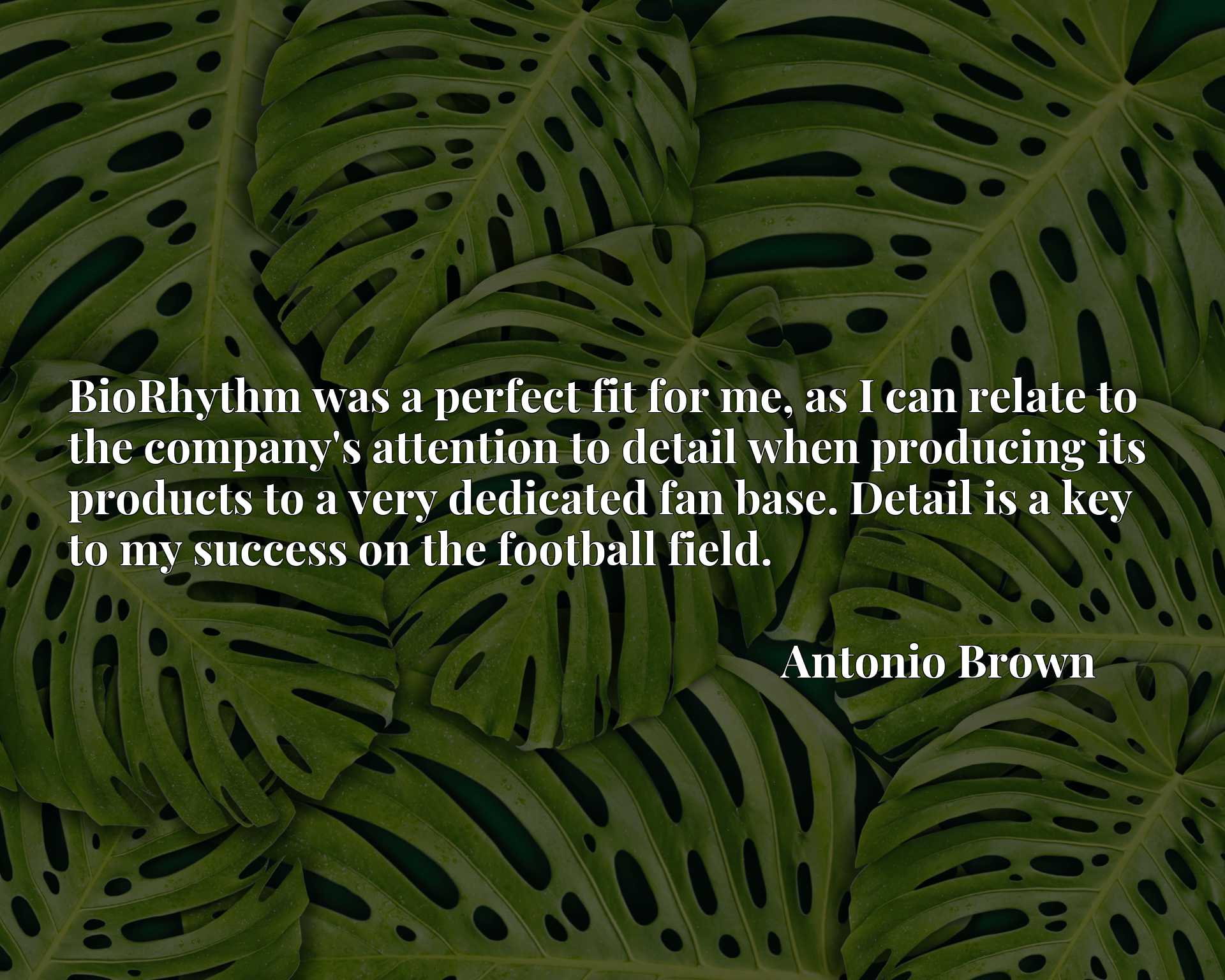 BioRhythm was a perfect fit for me, as I can relate to the company's attention to detail when producing its products to a very dedicated fan base. Detail is a key to my success on the football field.