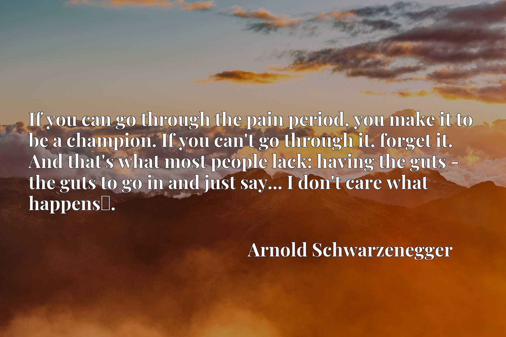 If you can go through the pain period, you make it to be a champion. If you can't go through it, forget it. And that's what most people lack: having the guts - the guts to go in and just say... I don't care what happensx9d.