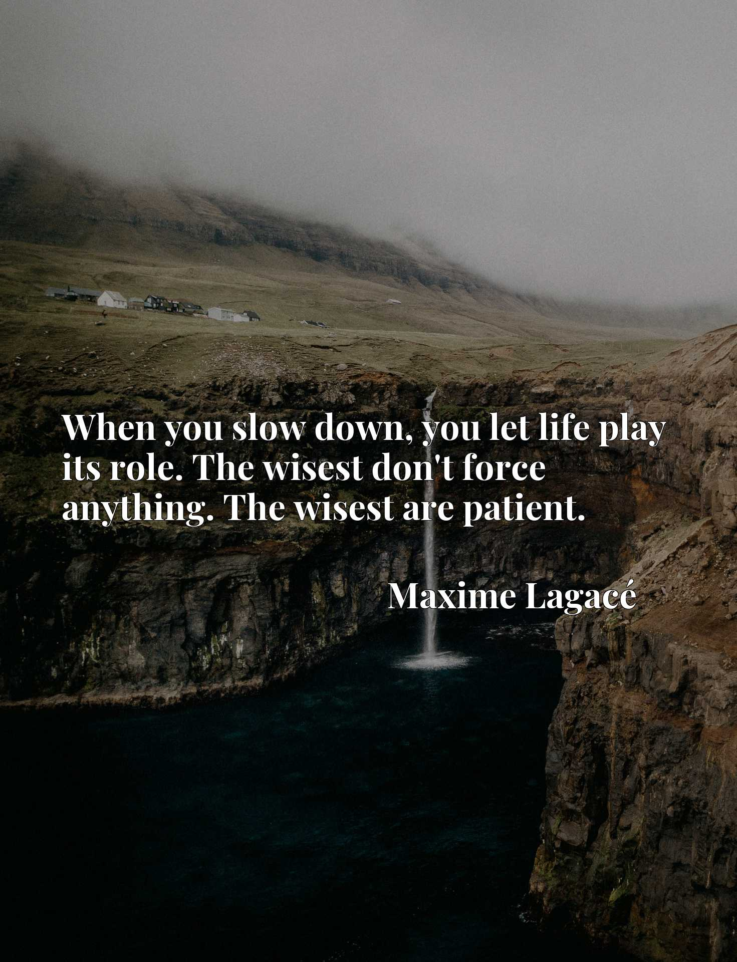 When you slow down, you let life play its role. The wisest don't force anything. The wisest are patient.